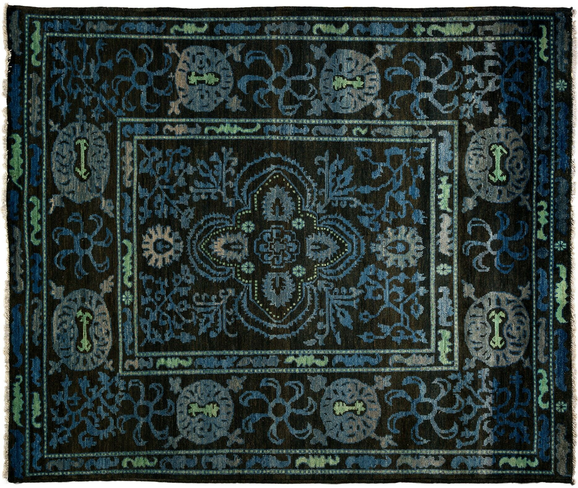 One-of-a-Kind Kaitag Hand-Knotted Black Area Rug