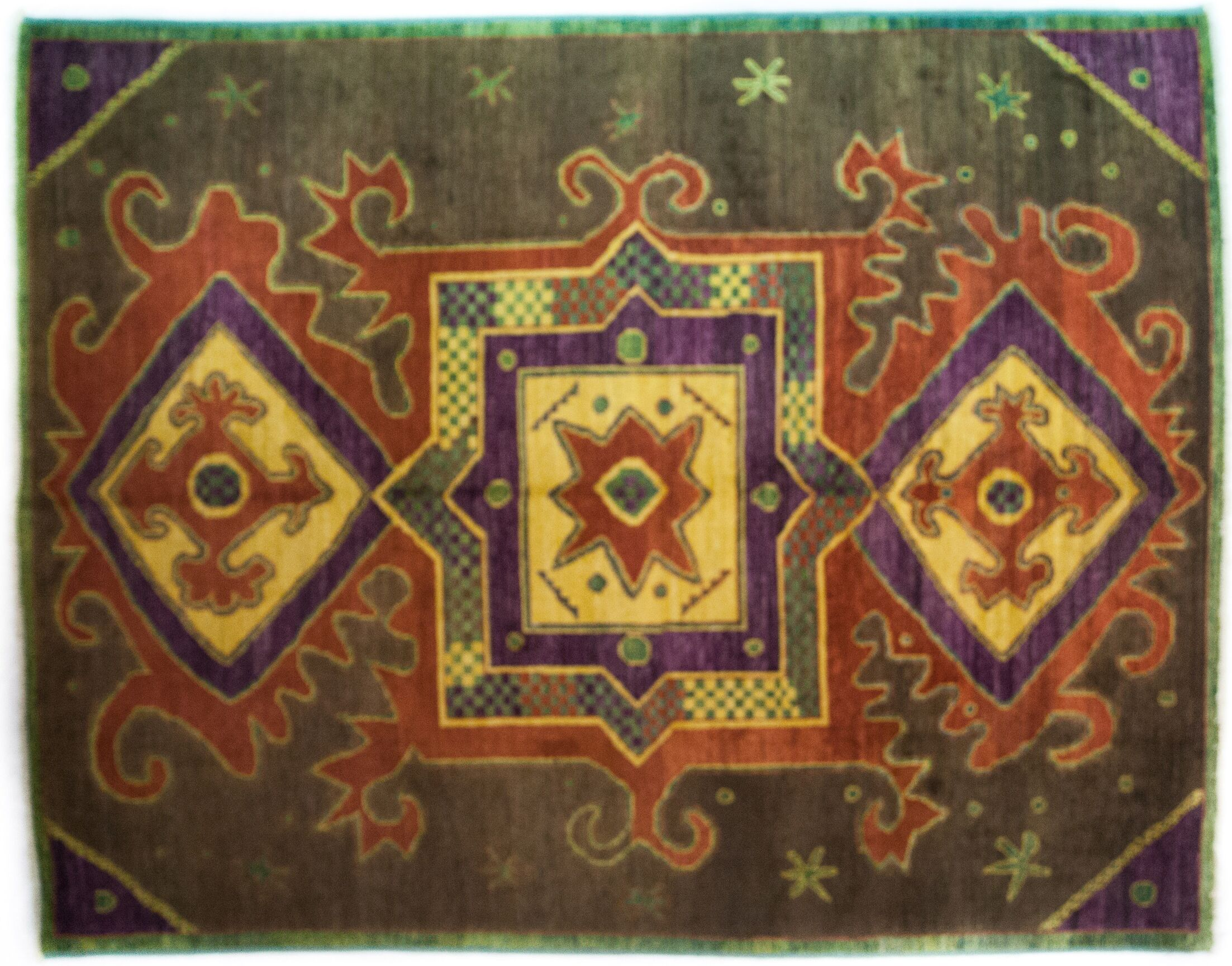 One-of-a-Kind Kaitag Hand-Knotted Brown/Yellow Area Rug