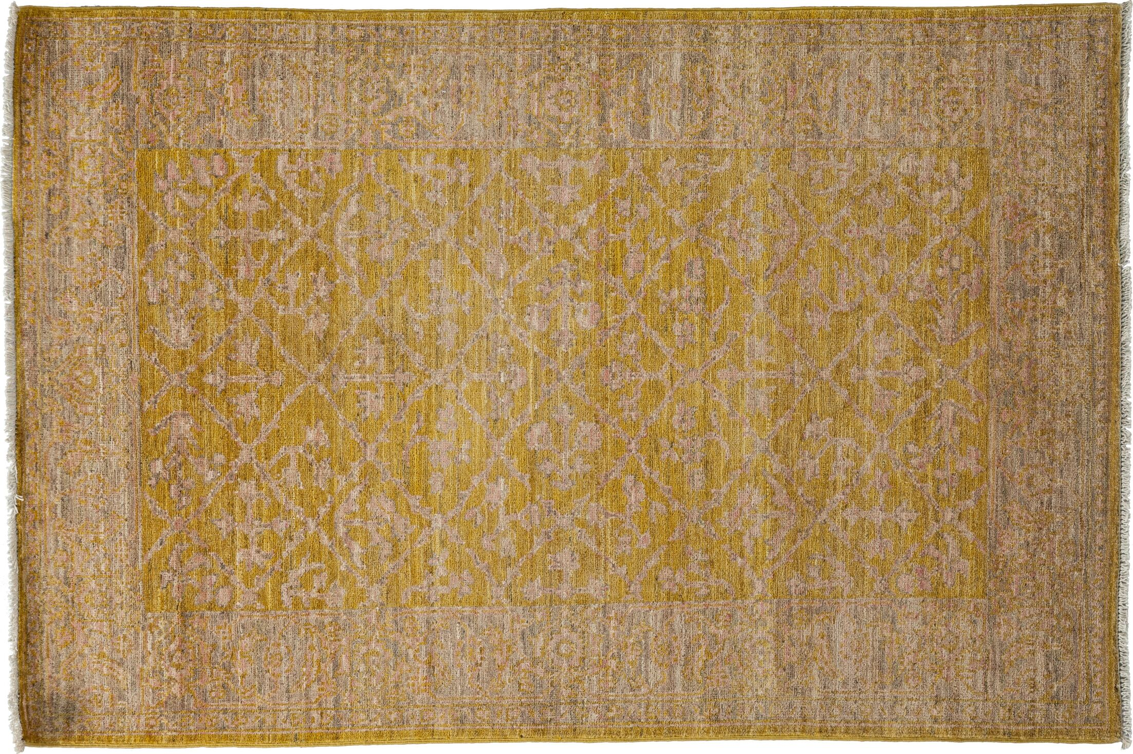 One-of-a-Kind Oushak Hand-Knotted Yellow Area Rug Rug Size: Rectangle 4'1