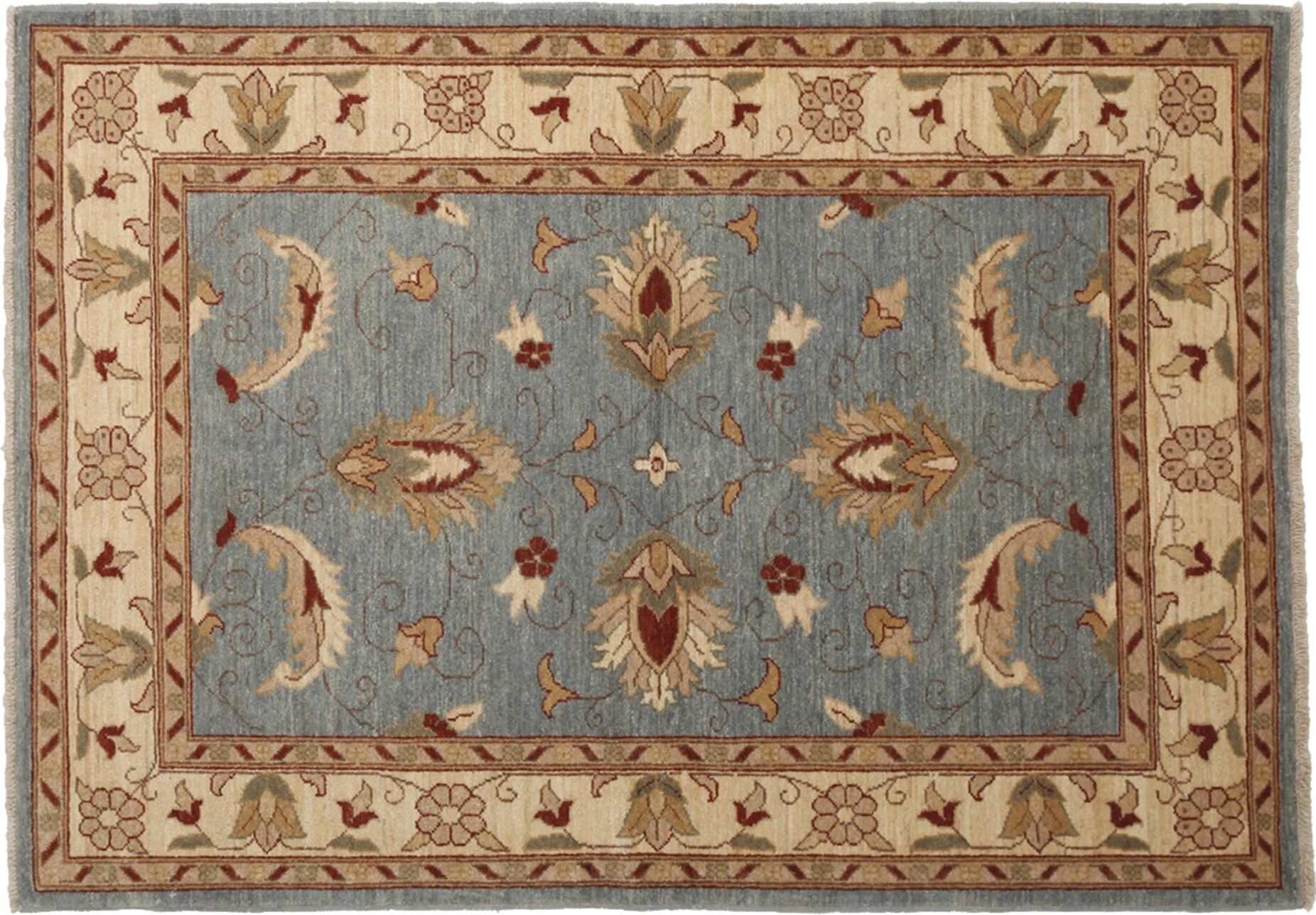 One-of-a-Kind Oushak Hand-Knotted Blue Area Rug