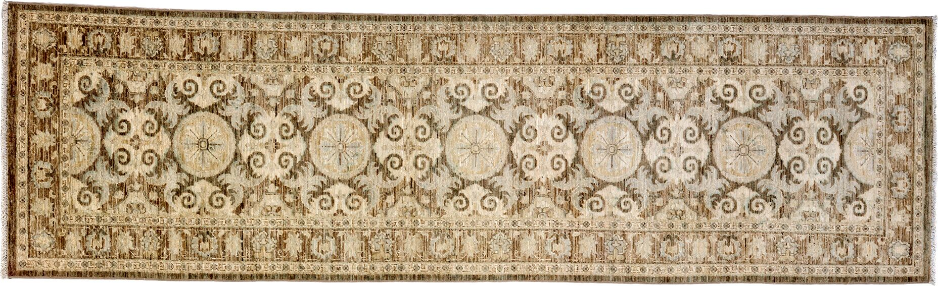 One-of-a-Kind Oushak Hand-Knotted Brown Area Rug Rug Size: Runner 3' x 10'3