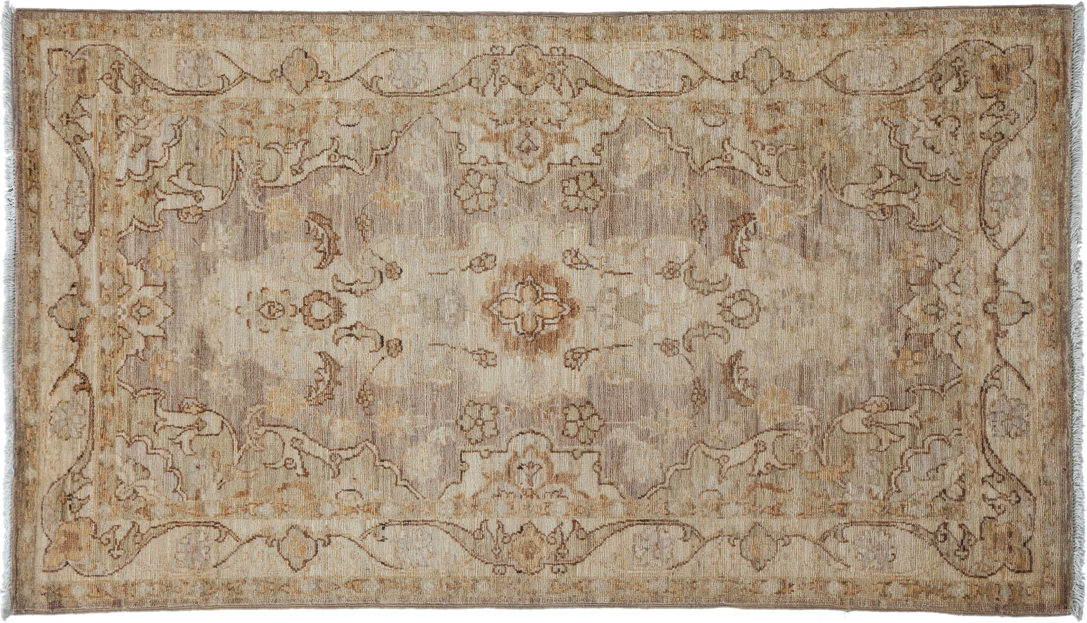 One-of-a-Kind Oushak Hand-Knotted Beige Area Rug Rug Size: Rectangle 2'10