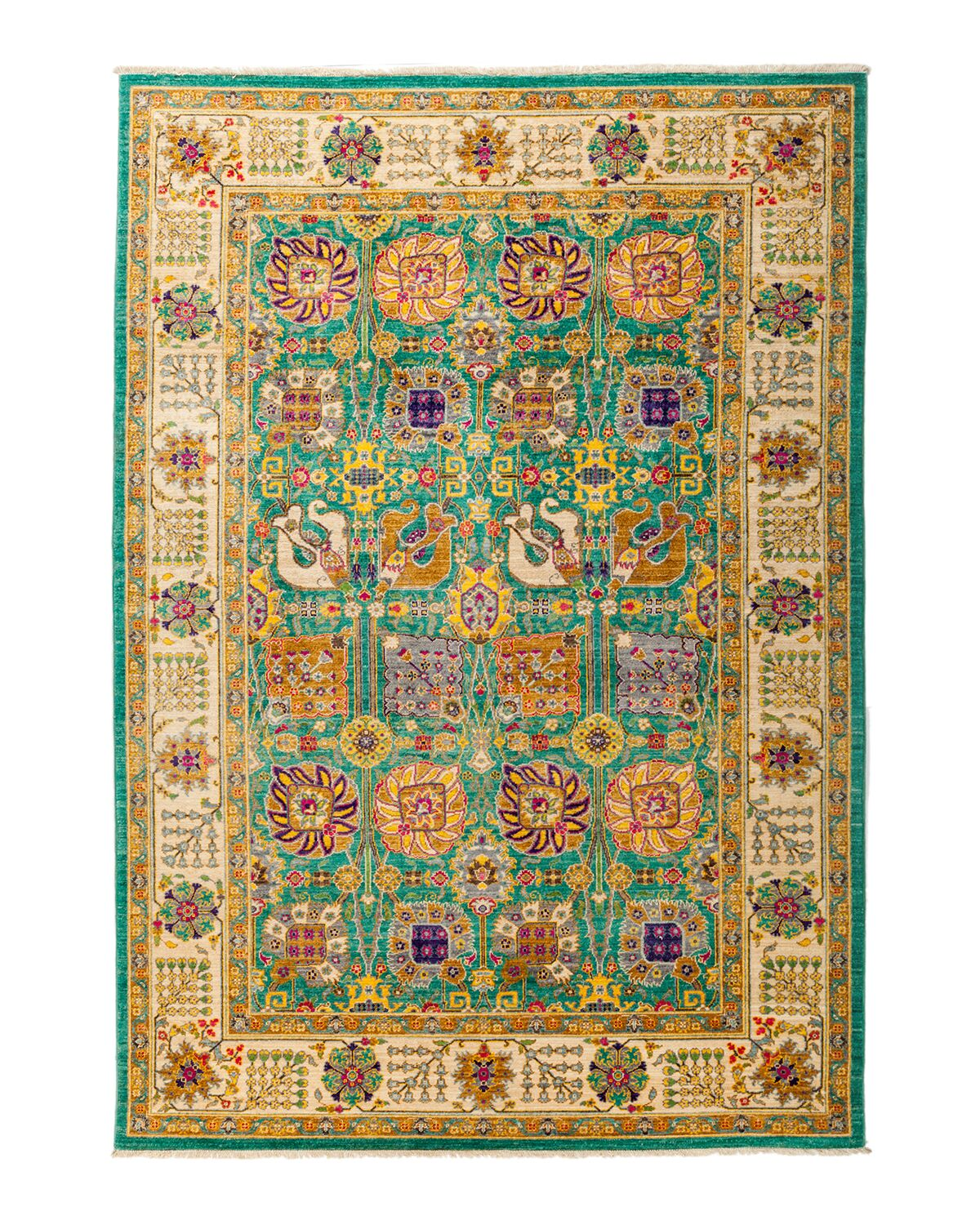 One-of-a-Kind Eclectic Vivid Hand-Knotted Multicolor Area Rug Rug Size: Rectangle 6'2