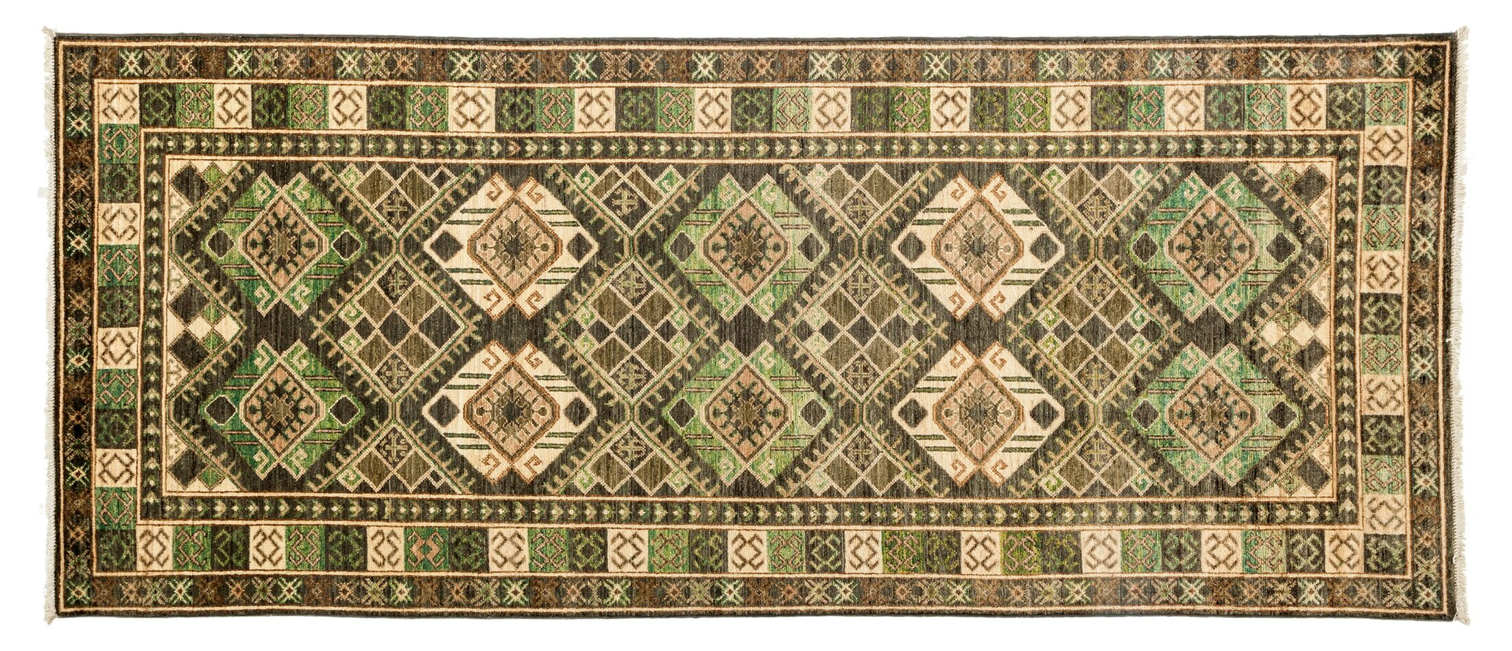 One-of-a-Kind Ersari Hand-Knotted Green Area Rug Rug Size: Runner 4' x 9'5