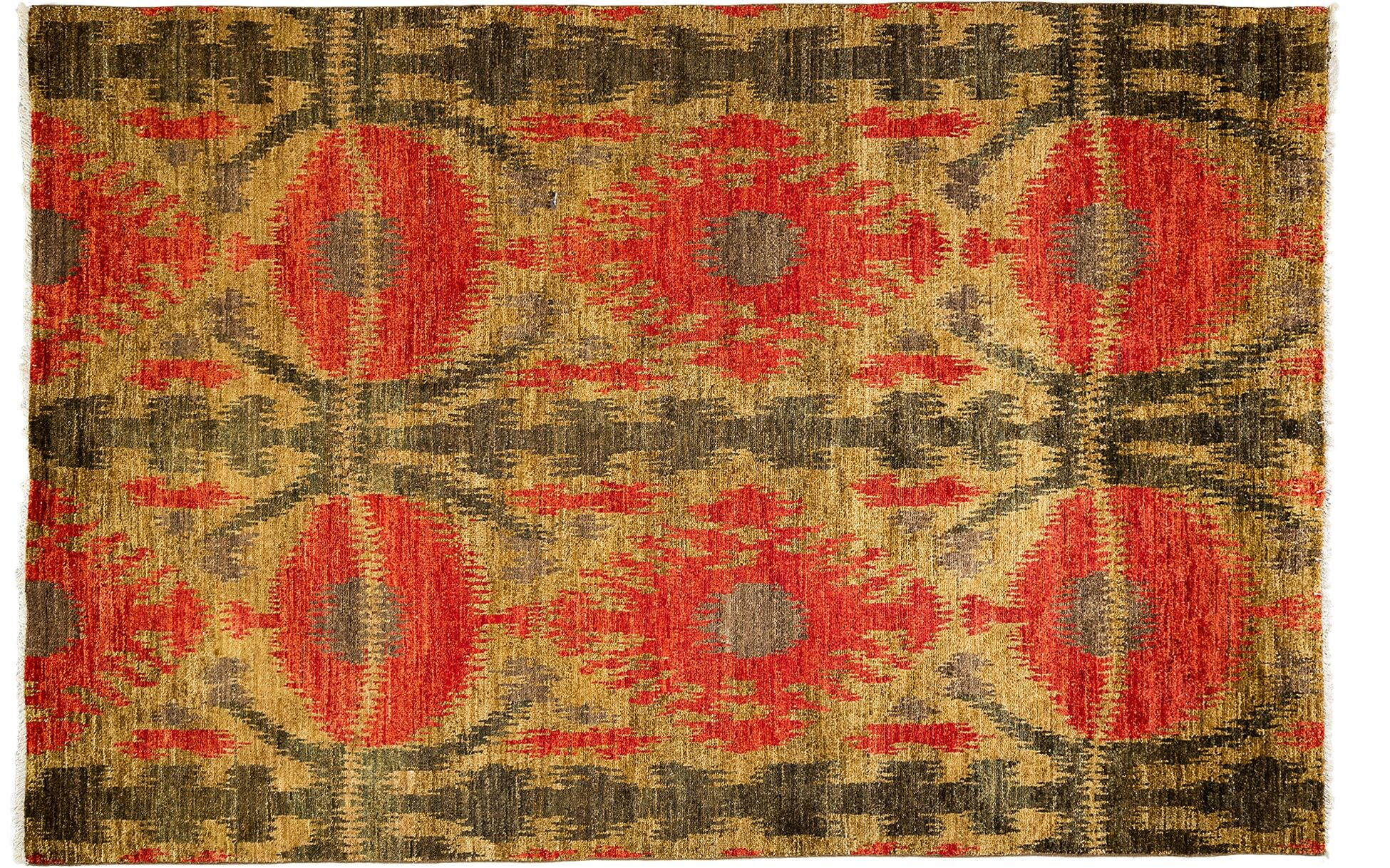 One-of-a-Kind Ikat Hand-Knotted Red Area Rug