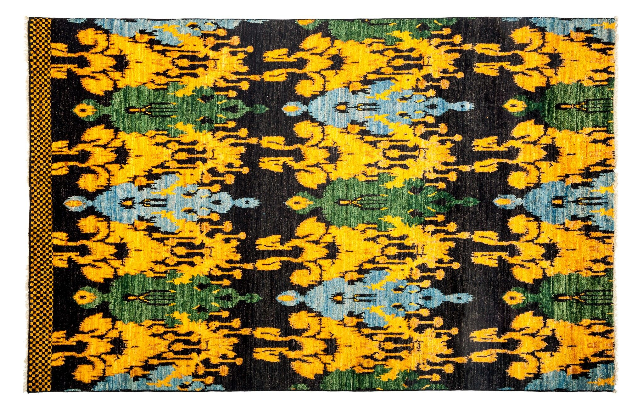 One-of-a-Kind Ikat Hand-Knotted Black Area Rug Rug Size: 6'1
