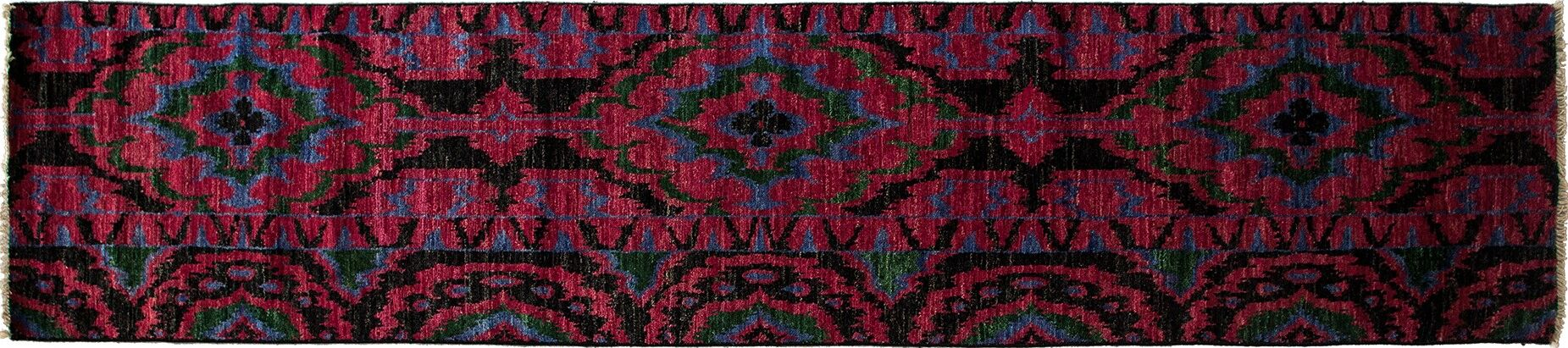 One-of-a-Kind Ikat Hand-Knotted Pink Area Rug Rug Size: Runner 2'7