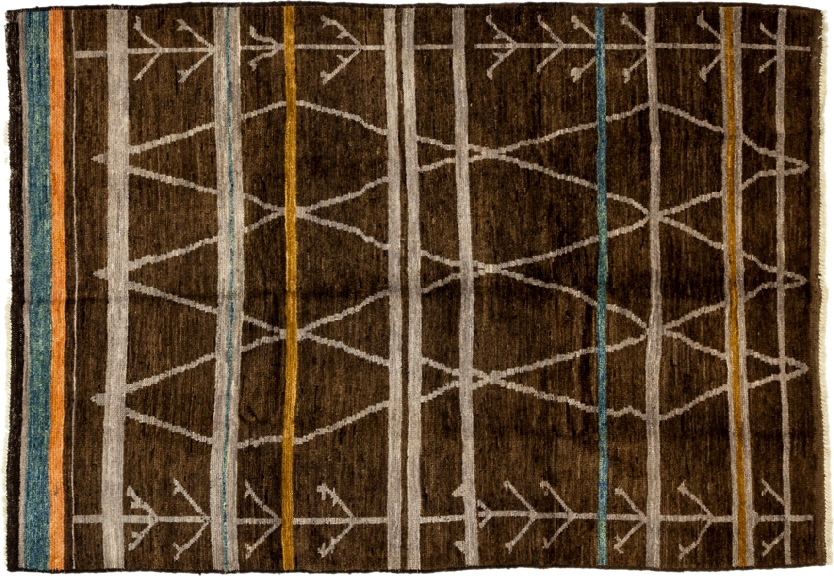 One-of-a-Kind Moroccan Hand-Knotted Brown Area Rug