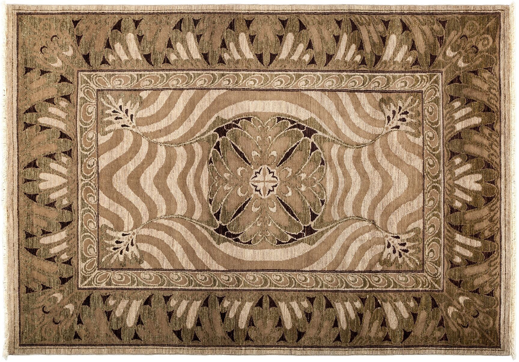 One-of-a-Kind Shalimar Hand-Knotted Brown Area Rug