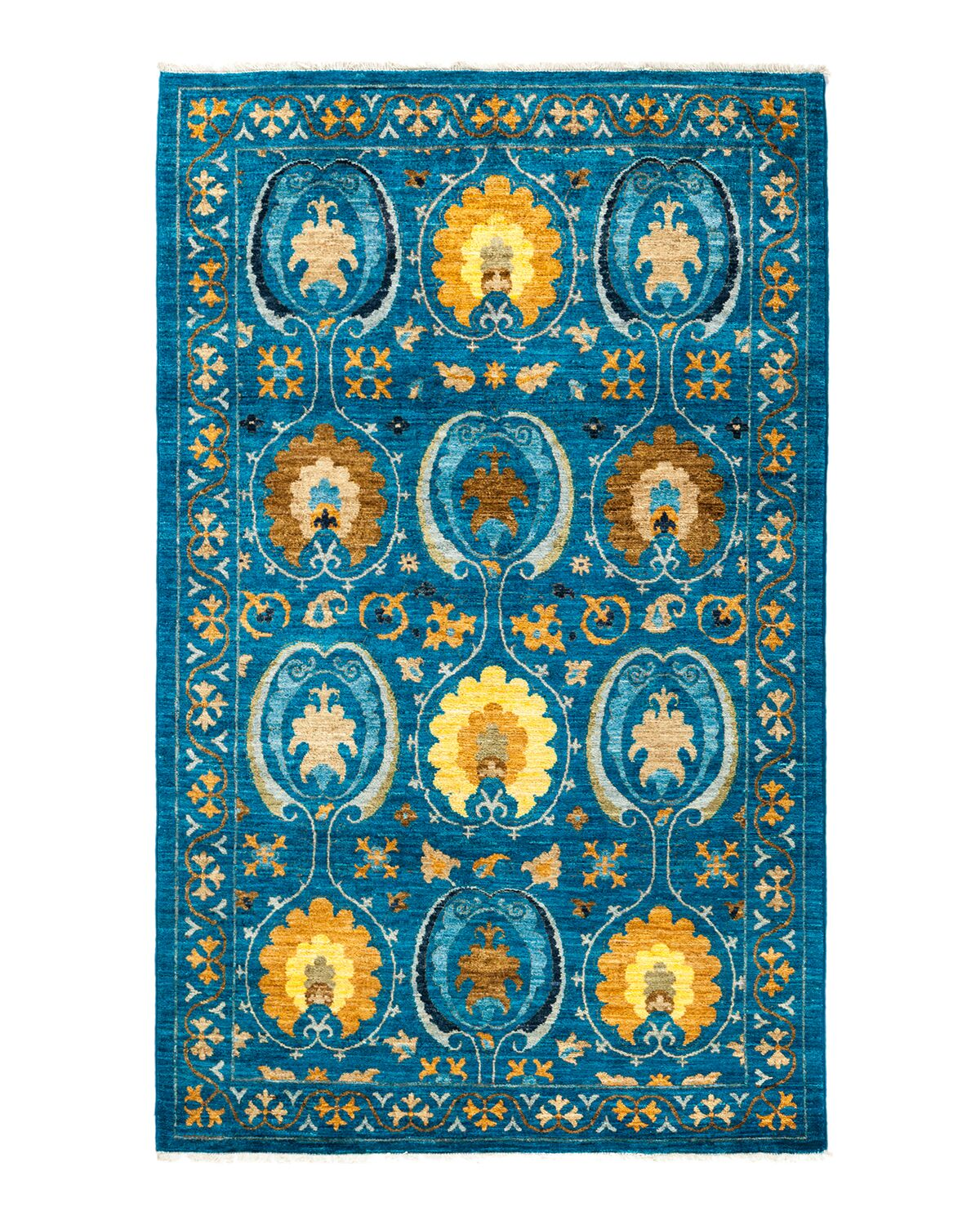 One-of-a-Kind Suzani Hand-Knotted Blue Area Rug Rug Size: Rectangle 4'1