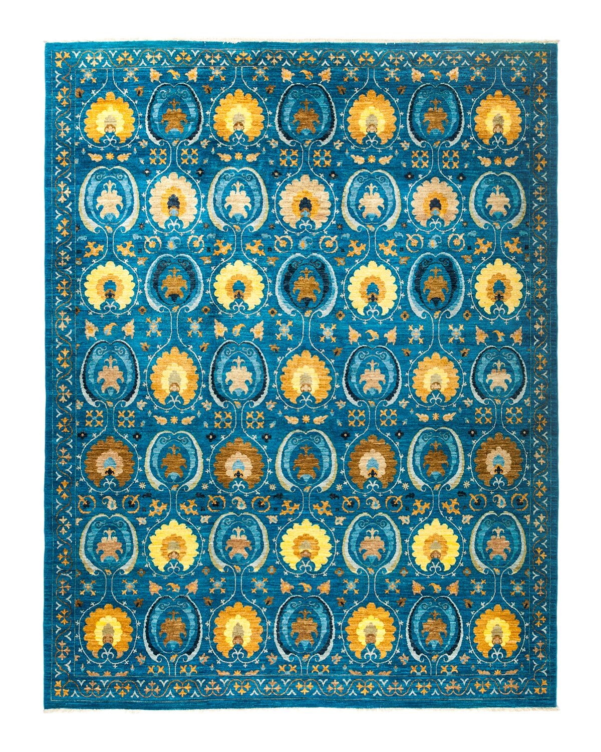 One-of-a-Kind Suzani Hand-Knotted Blue Area Rug Rug Size: Rectangle 9'1