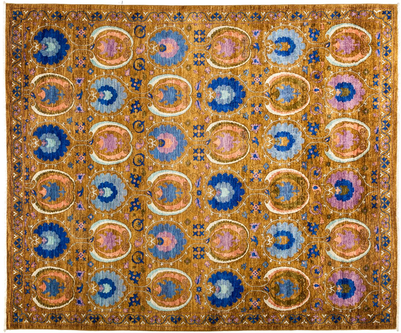 One-of-a-Kind Suzani Hand-Knotted Multicolor Area Rug Rug Size: 8'2
