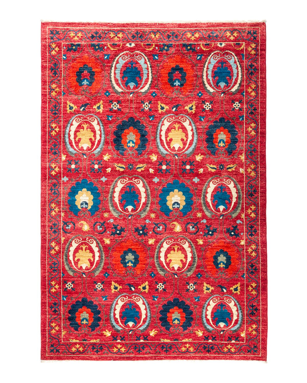 One-of-a-Kind Suzani Hand-Knotted Red Area Rug