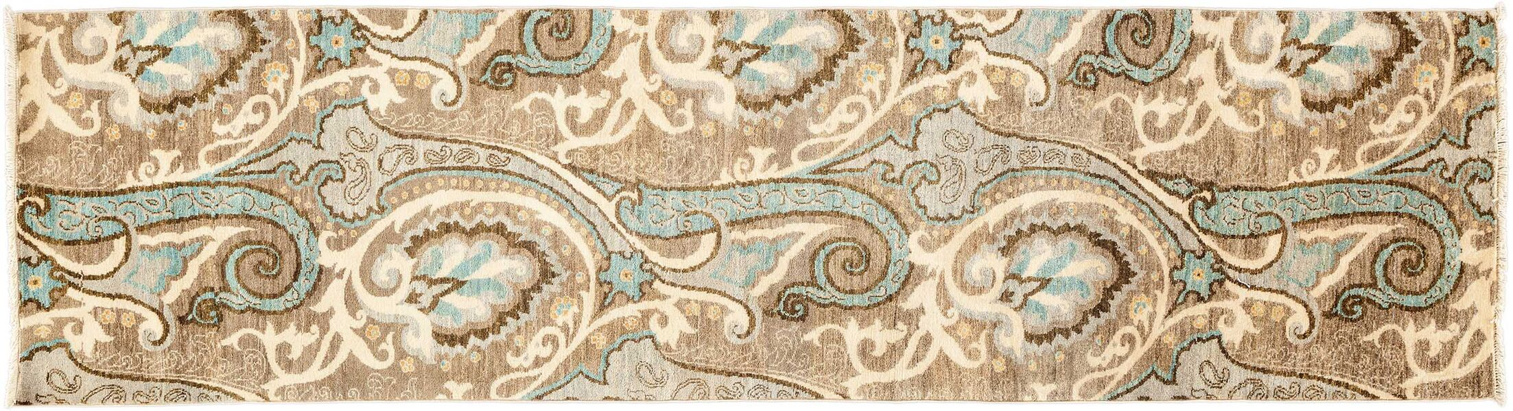 One-of-a-Kind Suzani Hand-Knotted Beige Area Rug Rug Size: Runner 2'8