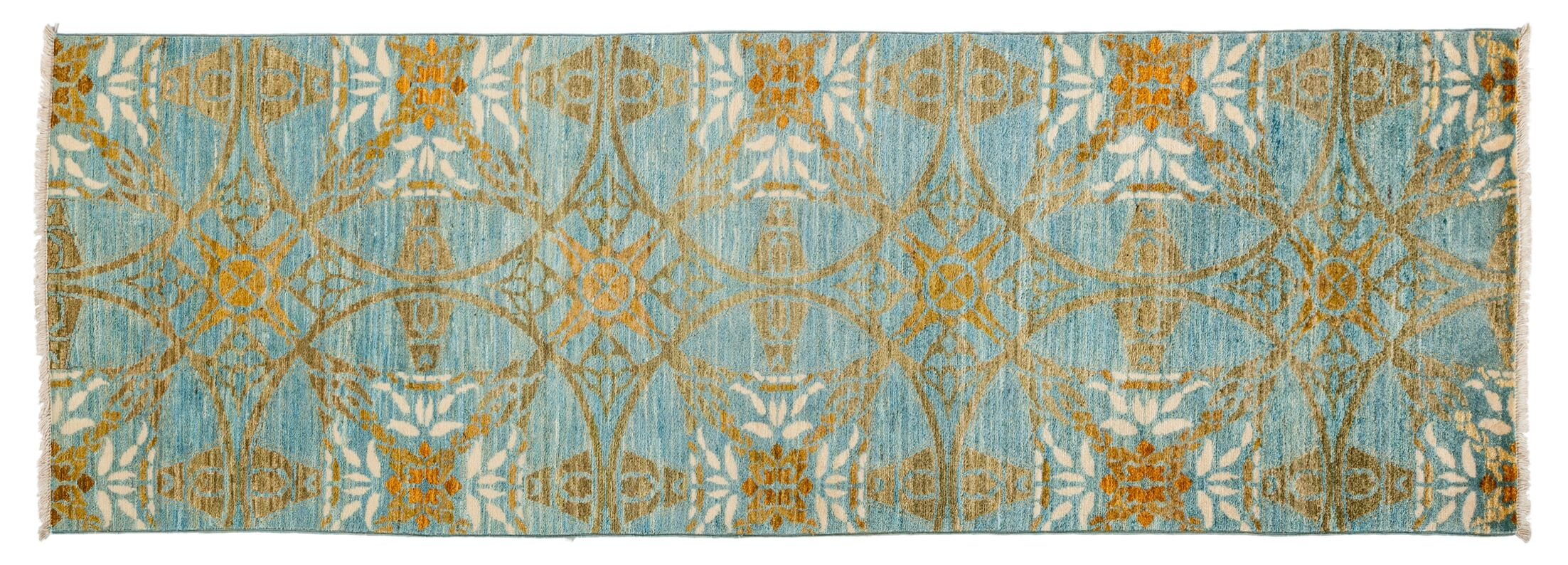 One-of-a-Kind Suzani Hand-Knotted Blue Area Rug Rug Size: Runner 2'7