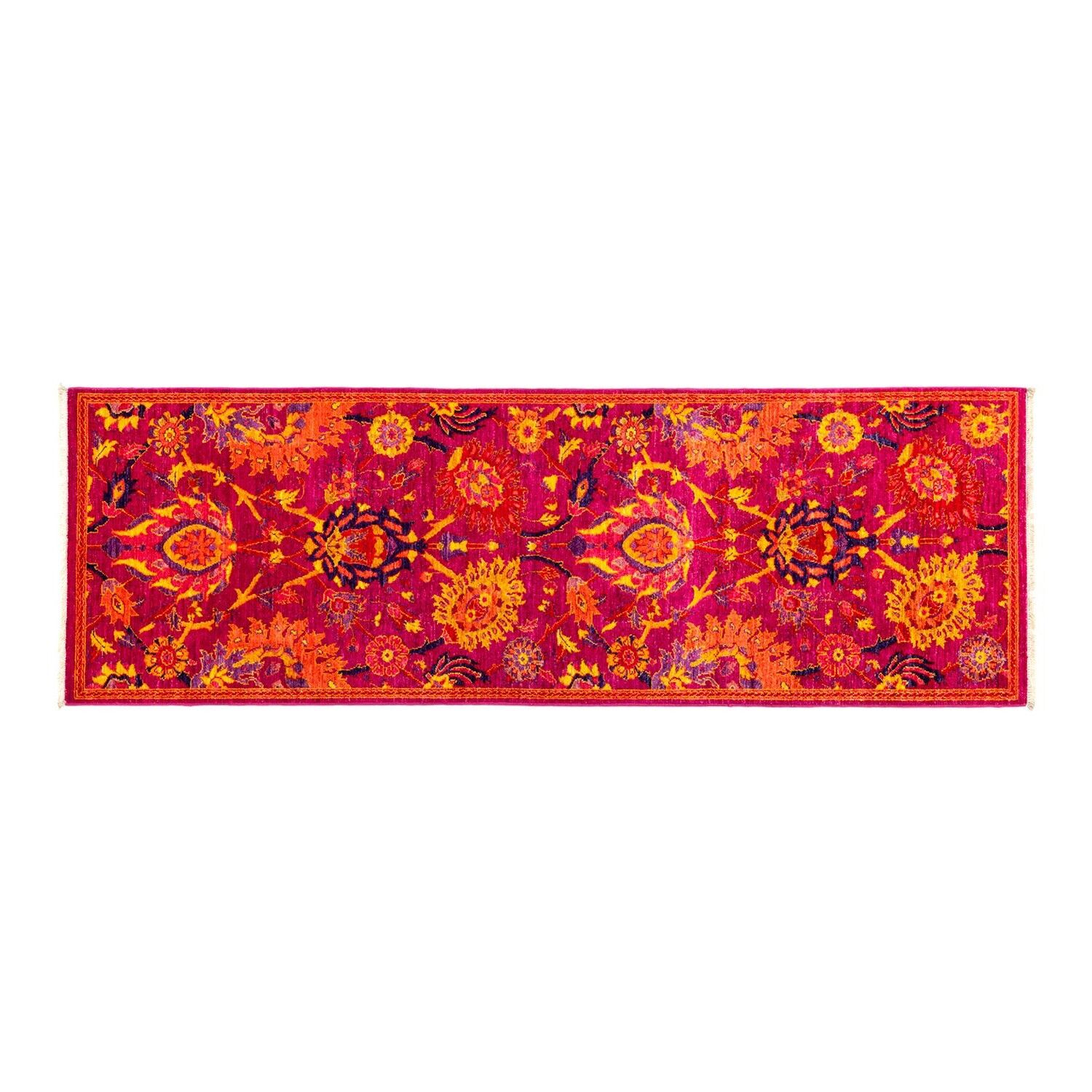 One-of-a-Kind Eclectic Vivid Hand-Knotted Pink Area Rug Rug Size: Runner 2'8