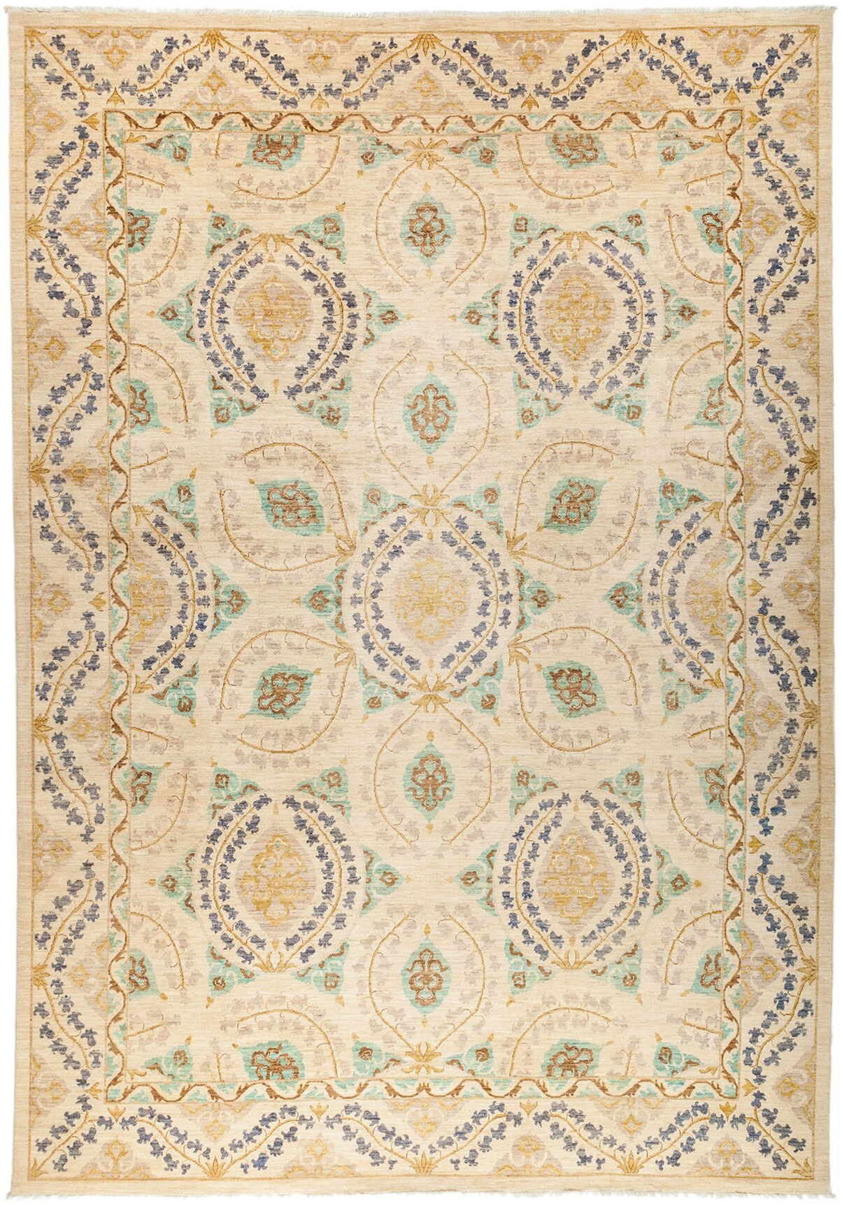 One-of-a-Kind Suzani Hand-Knotted Beige Area Rug Rug Size: 10'3