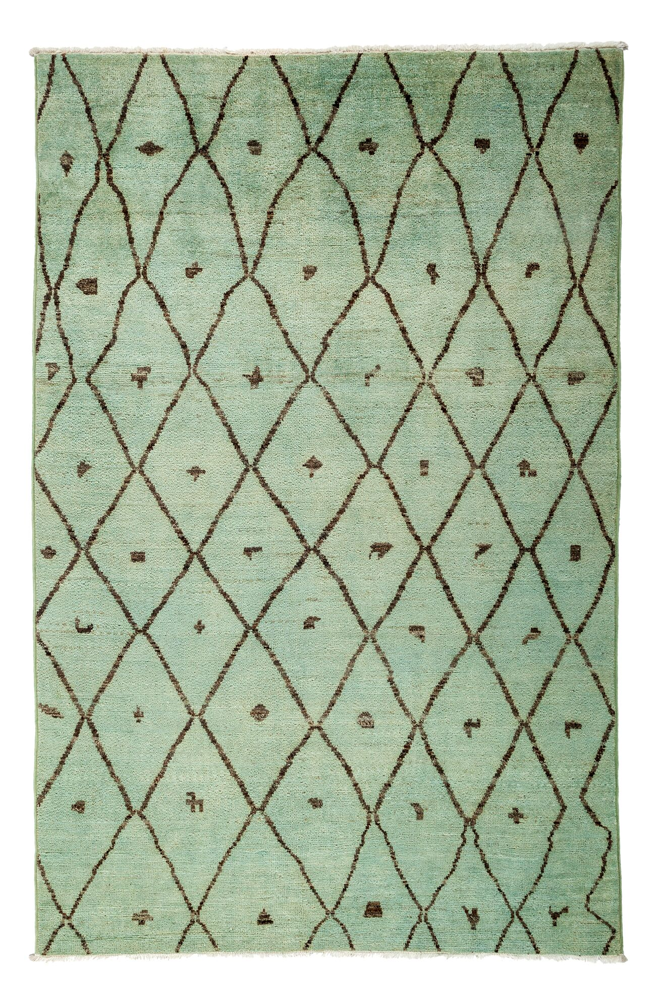 One-of-a-Kind Moroccan Hand-Knotted Green Area Rug Rug Size: 5'10
