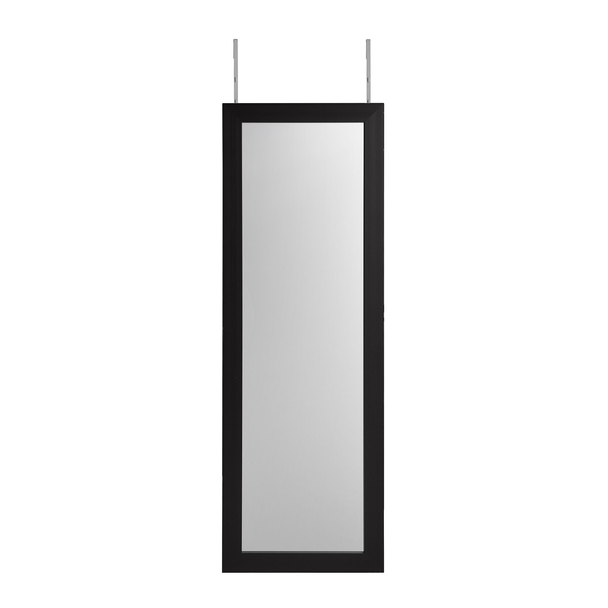 Michelle Full Length Over the Door/Wall Mounted Jewelry Armoire with Mirror Color: Black