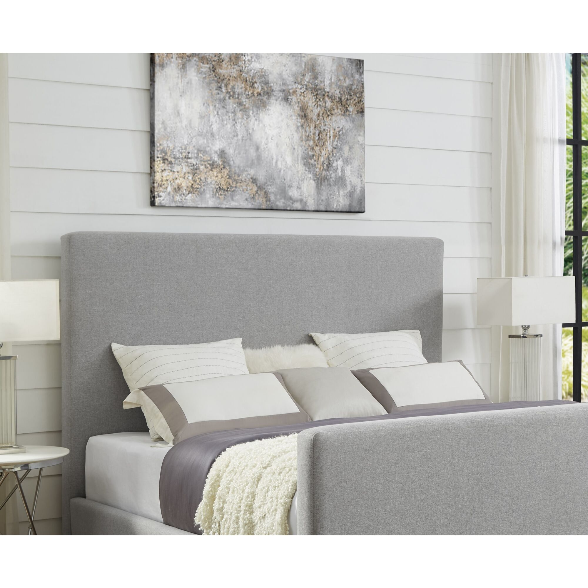 Ranstead Upholstered Panel Headboard Upholstery: Gray, Size: King
