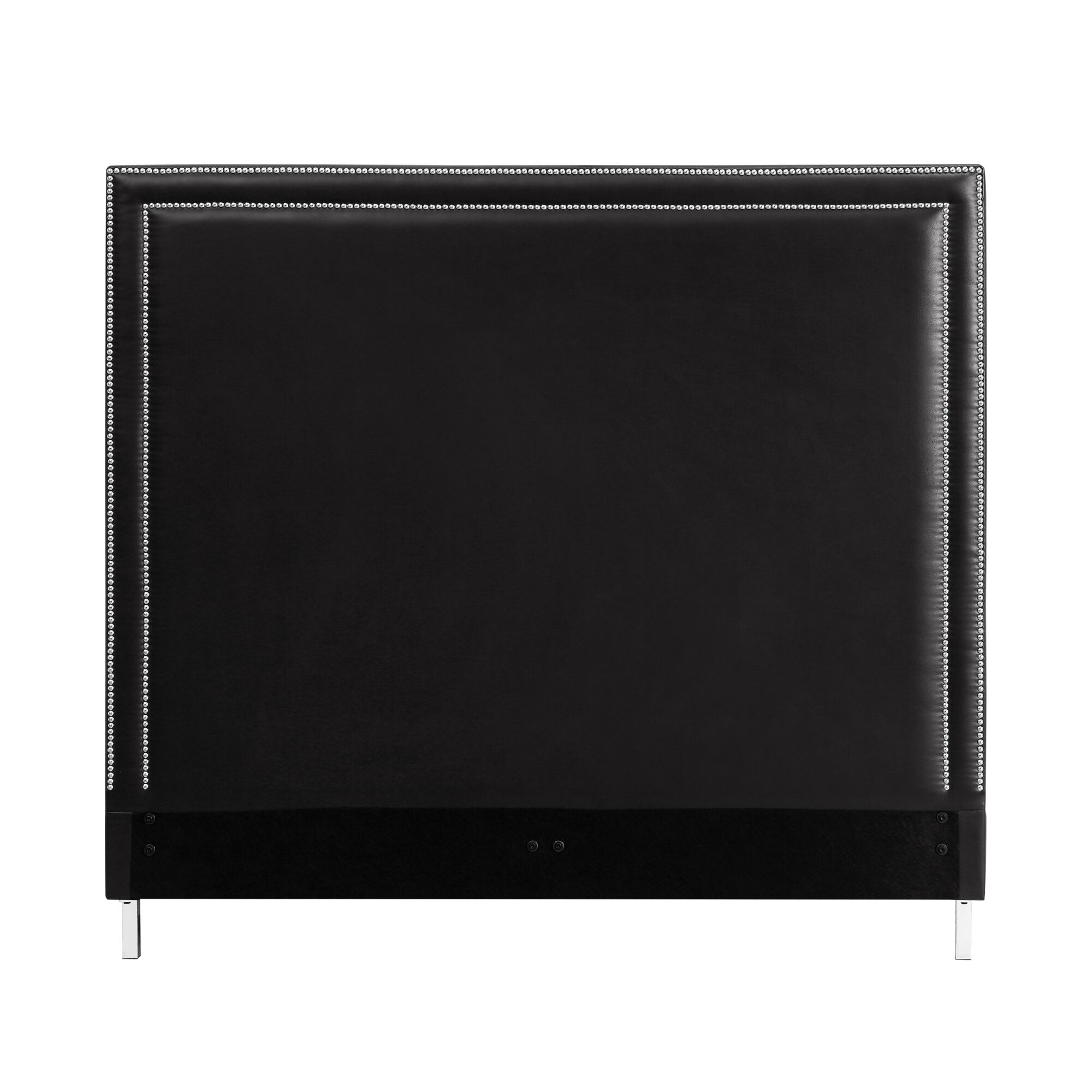 Dahms Nailhead Trim Upholstered Panel Headboard Upholstery: Black, Size: Queen