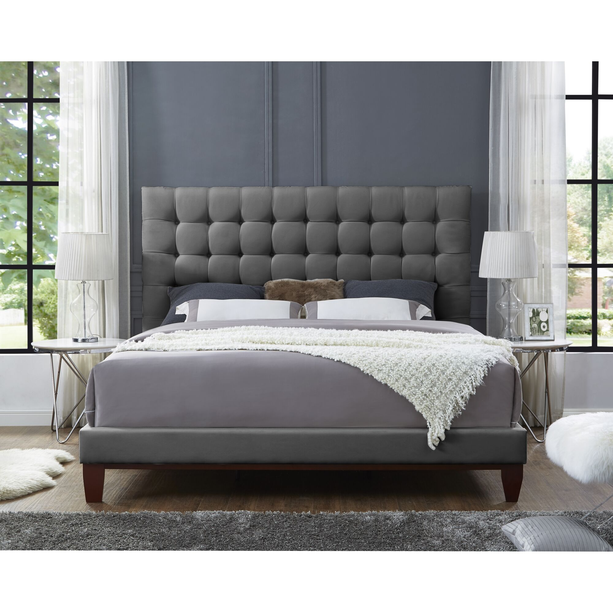 Randy Upholstered Platform Bed Color: Gray, Size: King, Upholstery: Velvet