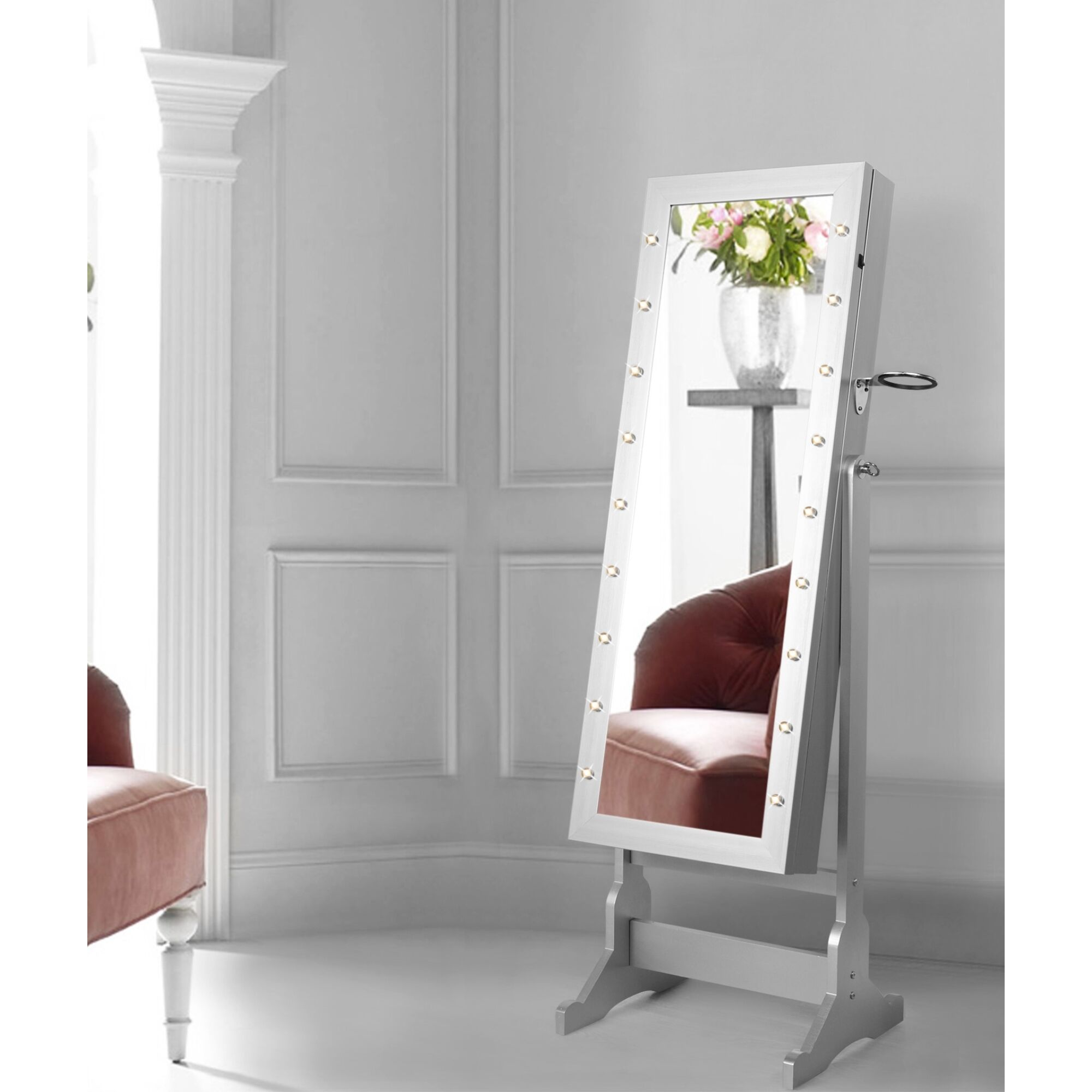 Ruckman Marquee Light Storage Jewelry Armoire with Mirror Color: Gray