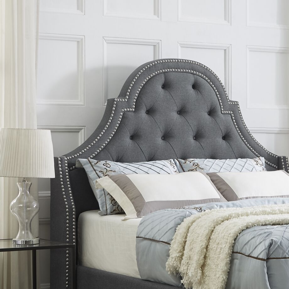 Caspian Upholstered Panel Headboard Upholstery: Linen Gray, Size: Queen