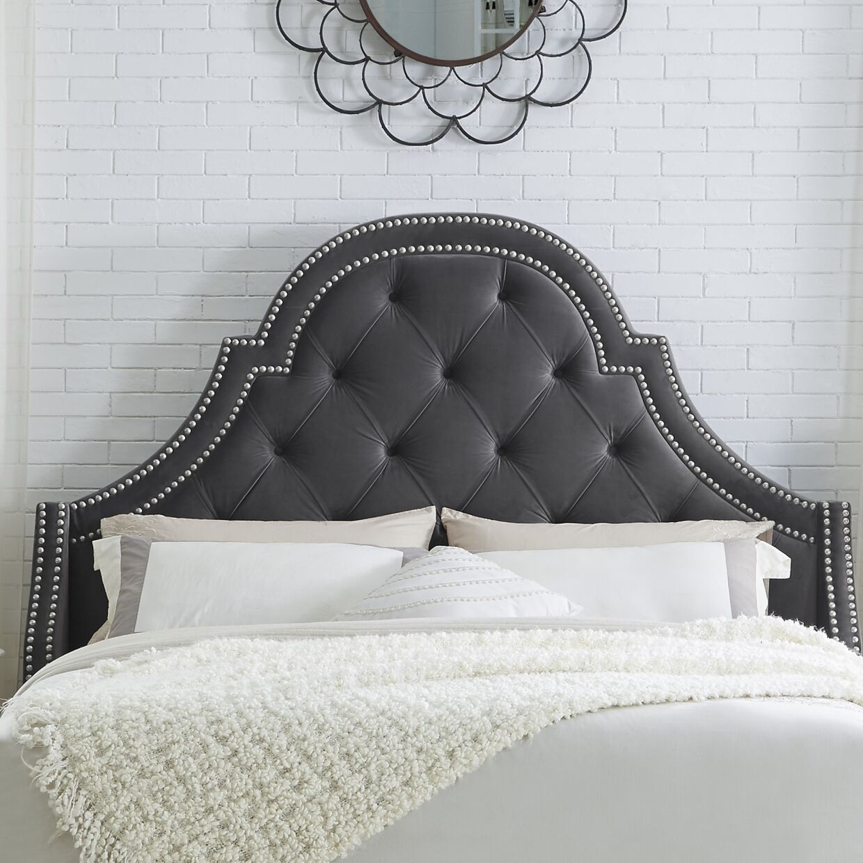 Caspian Upholstered Panel Headboard Size: King, Upholstery: Velvet Gray