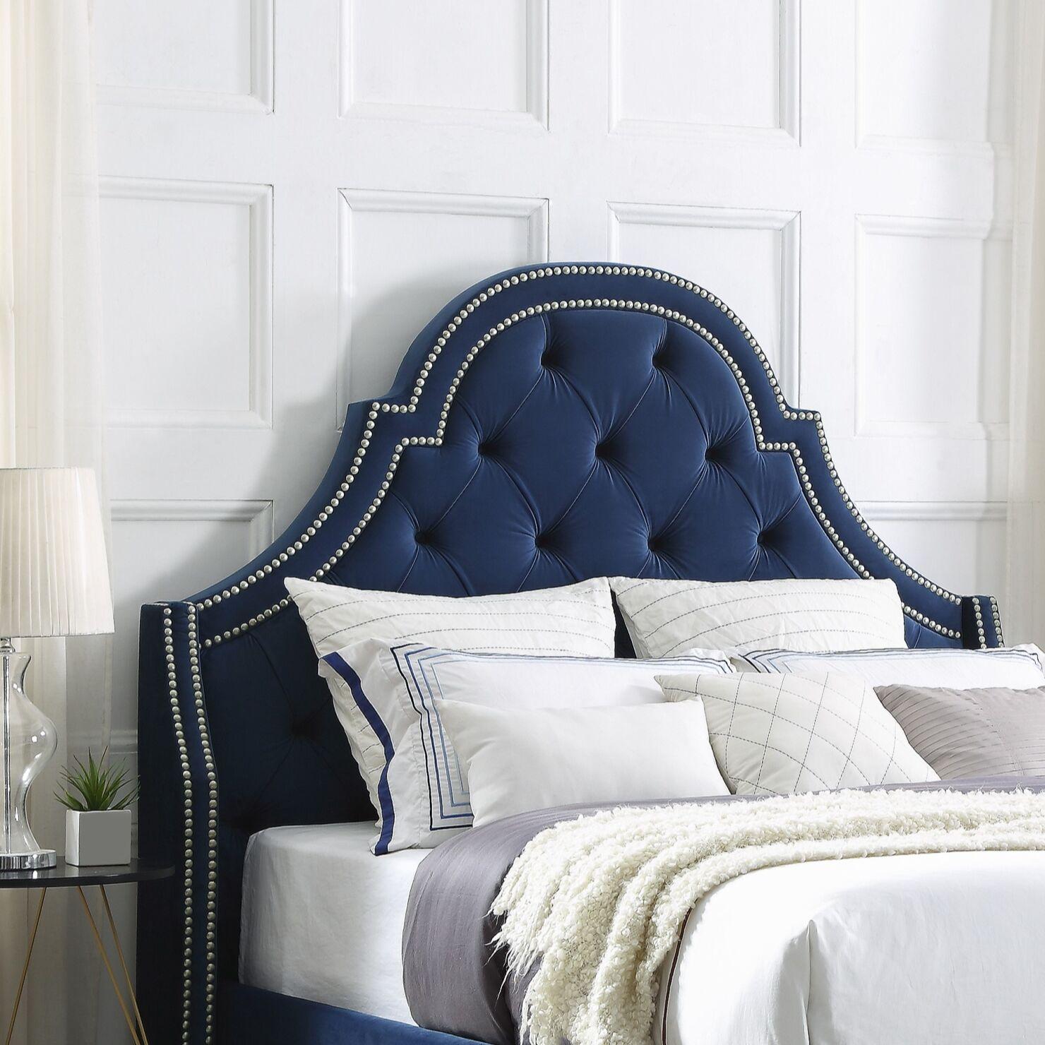 Caspian Upholstered Panel Headboard Size: King, Upholstery: Velvet Navy