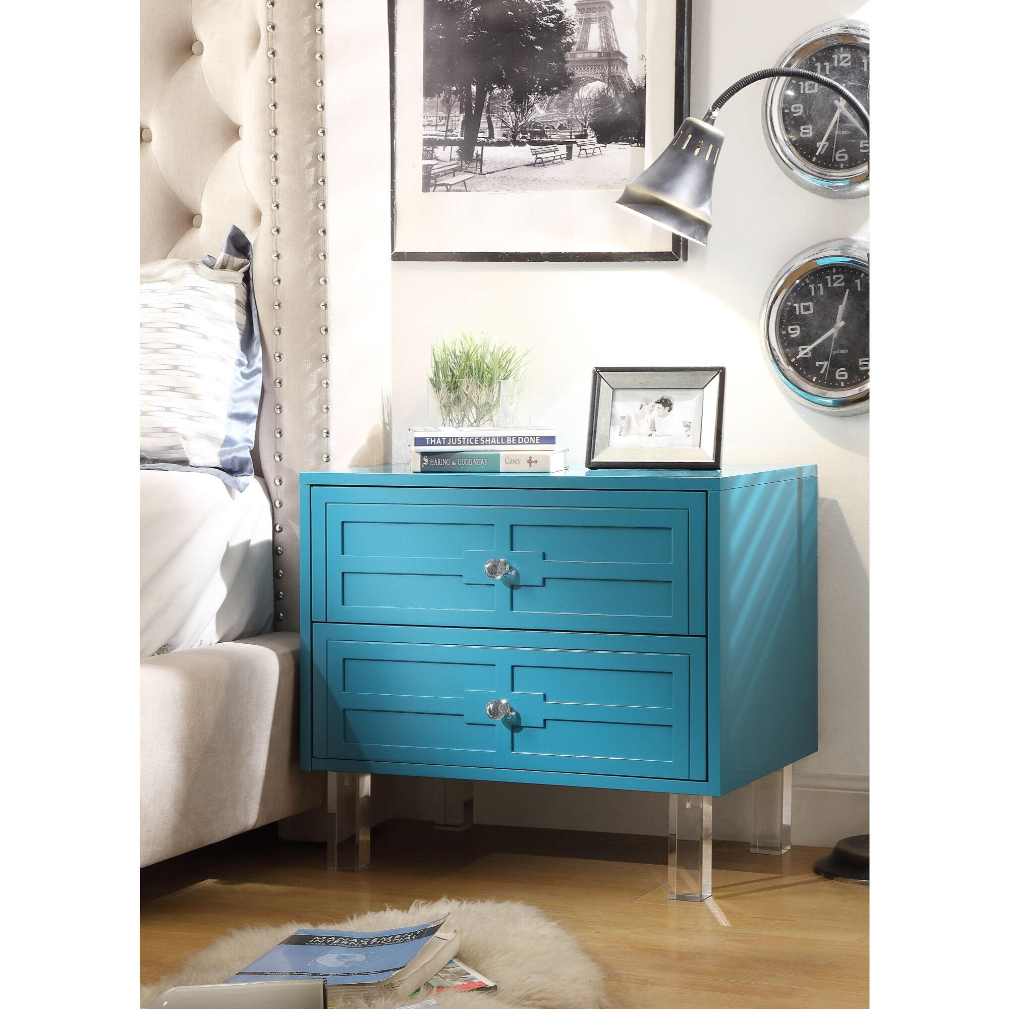 Admiranda 2 Drawer Nightstand Color: Turquoise