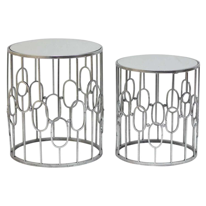 Round Metal 2 Piece Nesting Tables