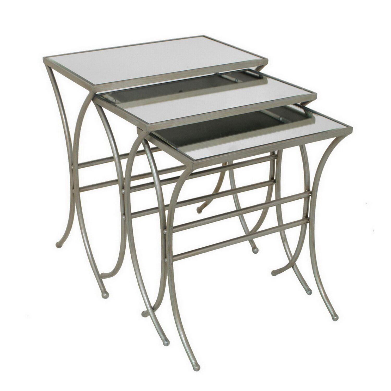 Estevez Metal/Mirrored 3 Piece Nesting Tables
