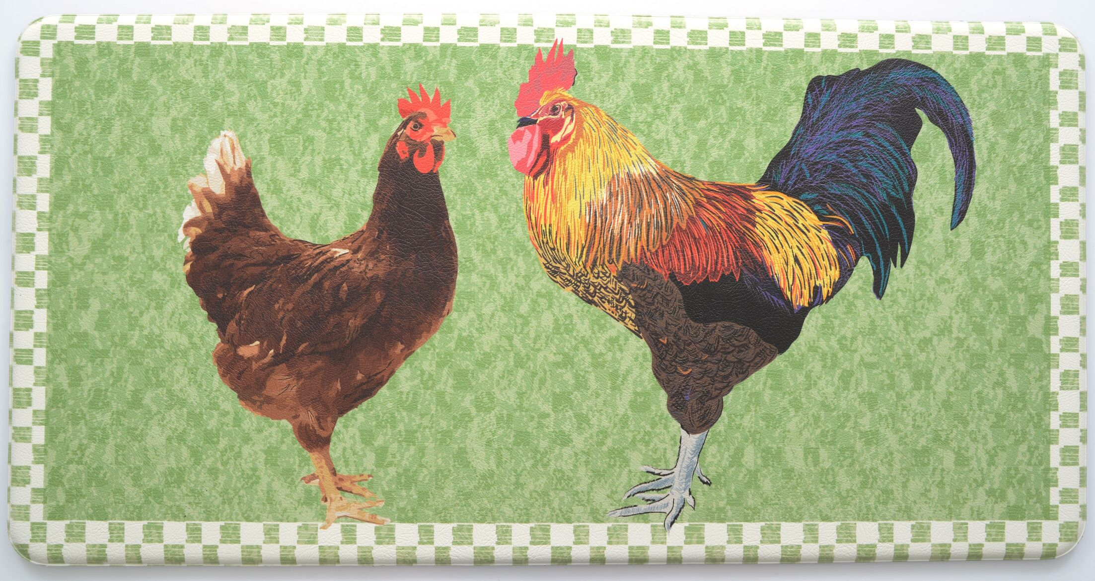 Cathie Rooster Kitchen Mat Color: Green