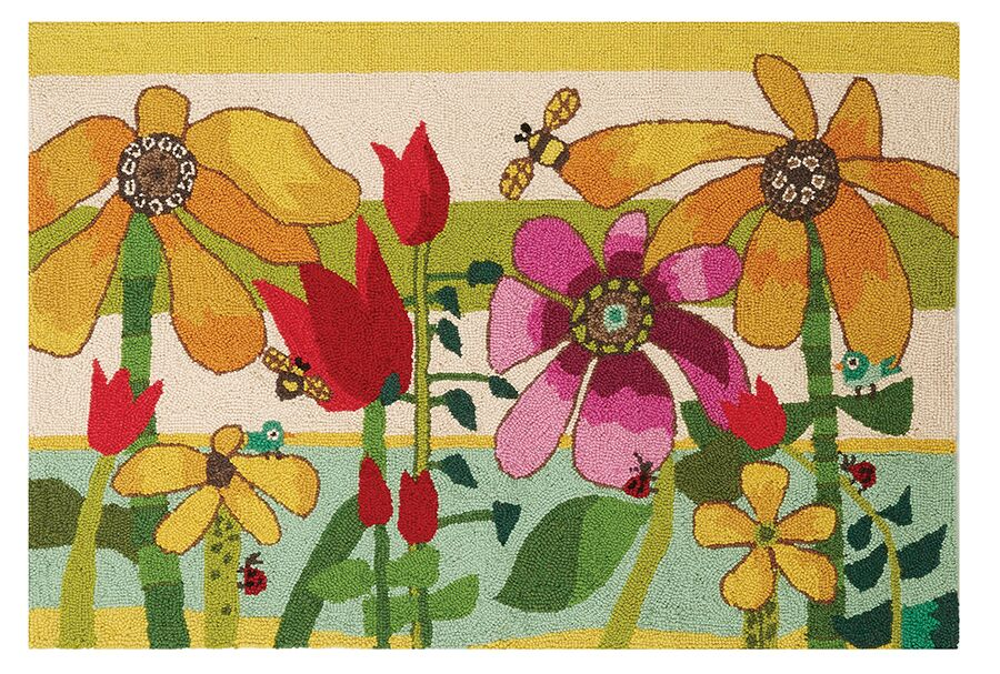 Sunflowers Hand-Woven Yellow/Green Area Rug