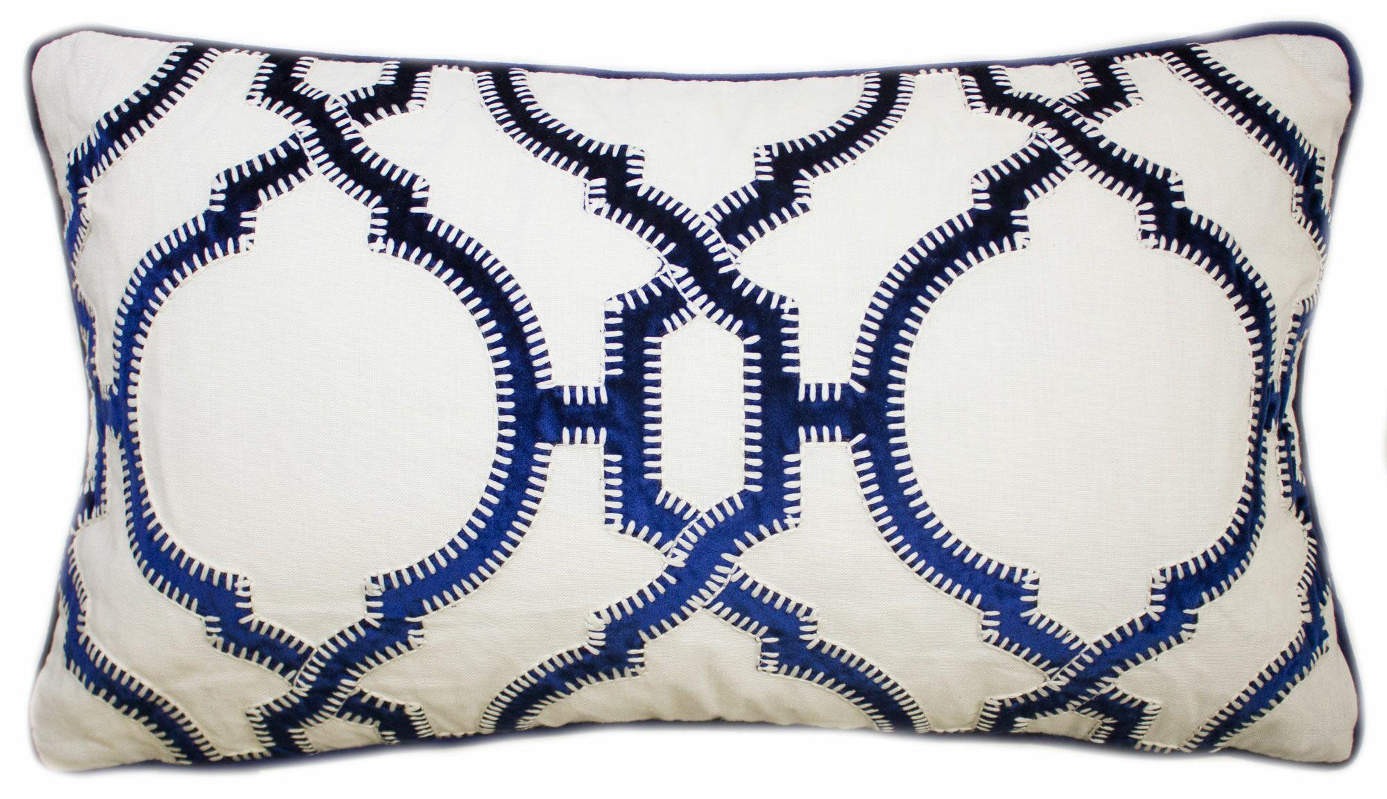 Cadbury Embroidered Lumbar Pillow Color: Navy