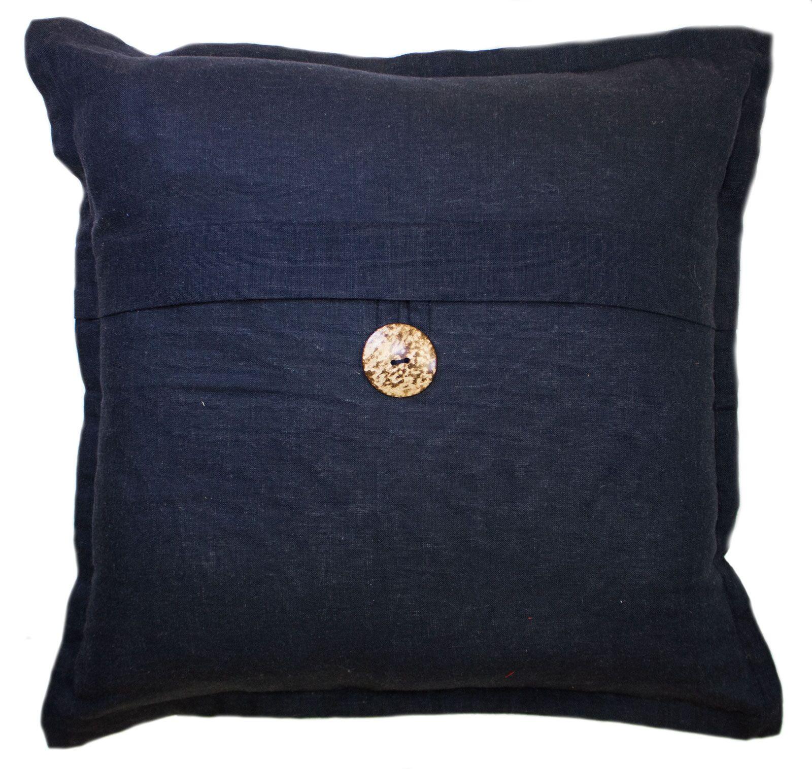 Beaty Button Cotton Throw Pillow Color: Navy