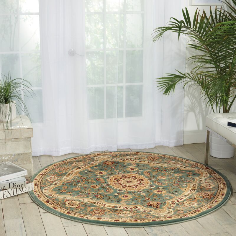 Antiquities Imperial Garden Slate Blue/Sage Area Rug Rug Size: Round 7'10