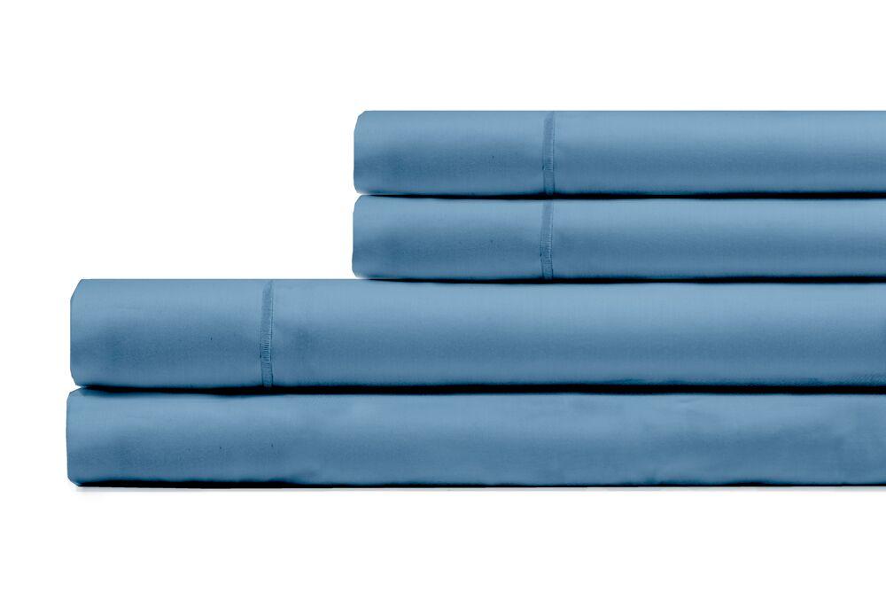 Ouatchia 300 Thread Count 100% Cotton 4 Piece Sheet Set Color: Coastal Blue, Size: King