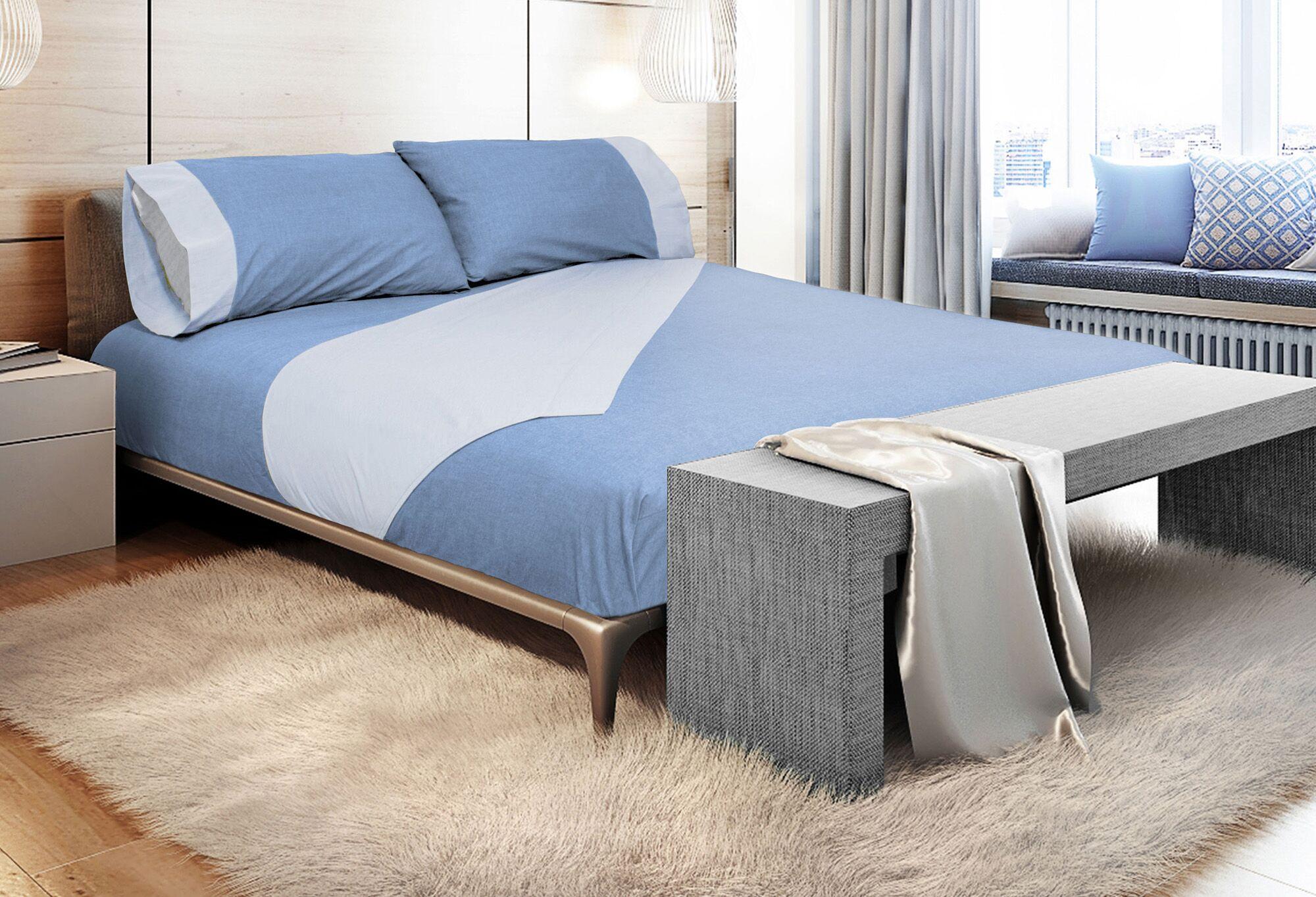Binder 300 Thread Count 100% Cotton Sheet Set Color: Denim Blue, Size: King