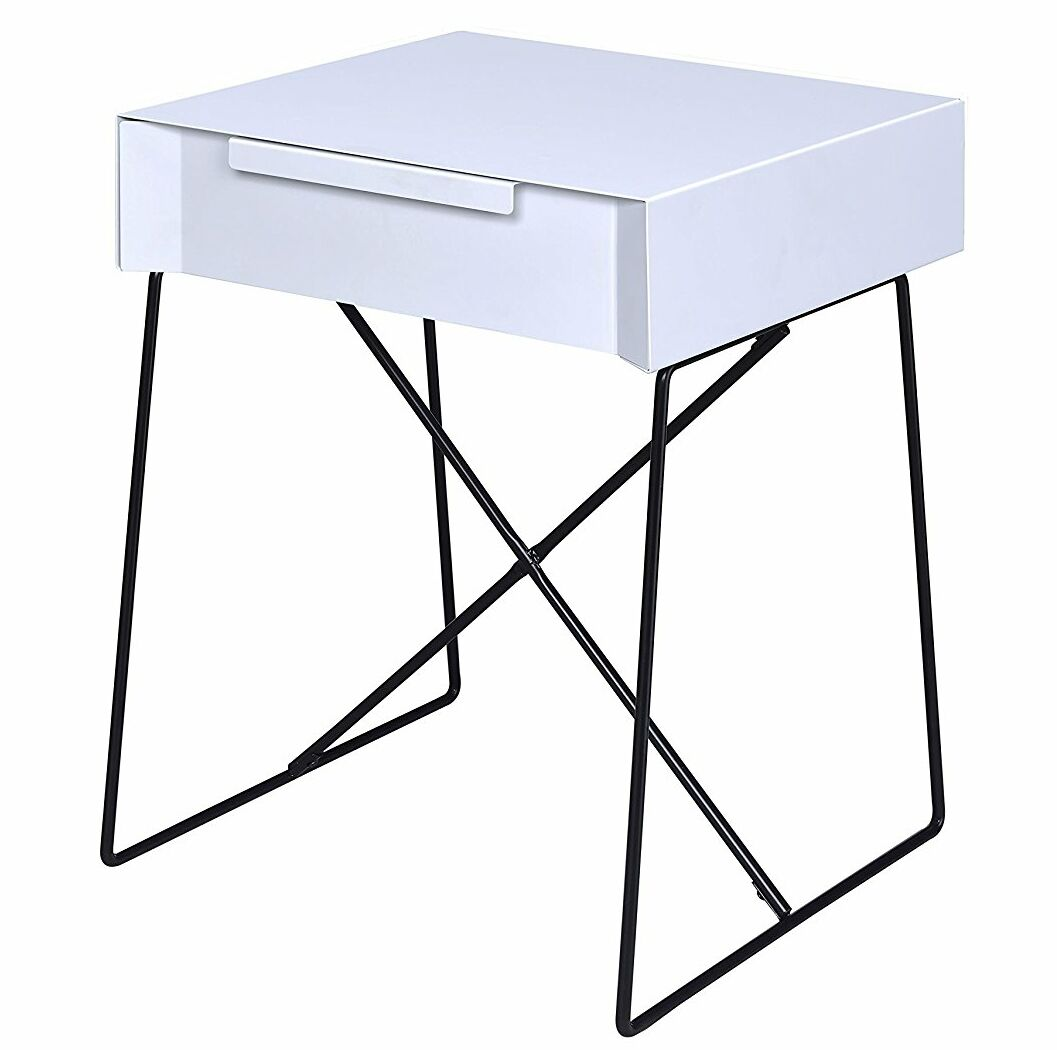 Glidewell Retro Styled End Table Color: White