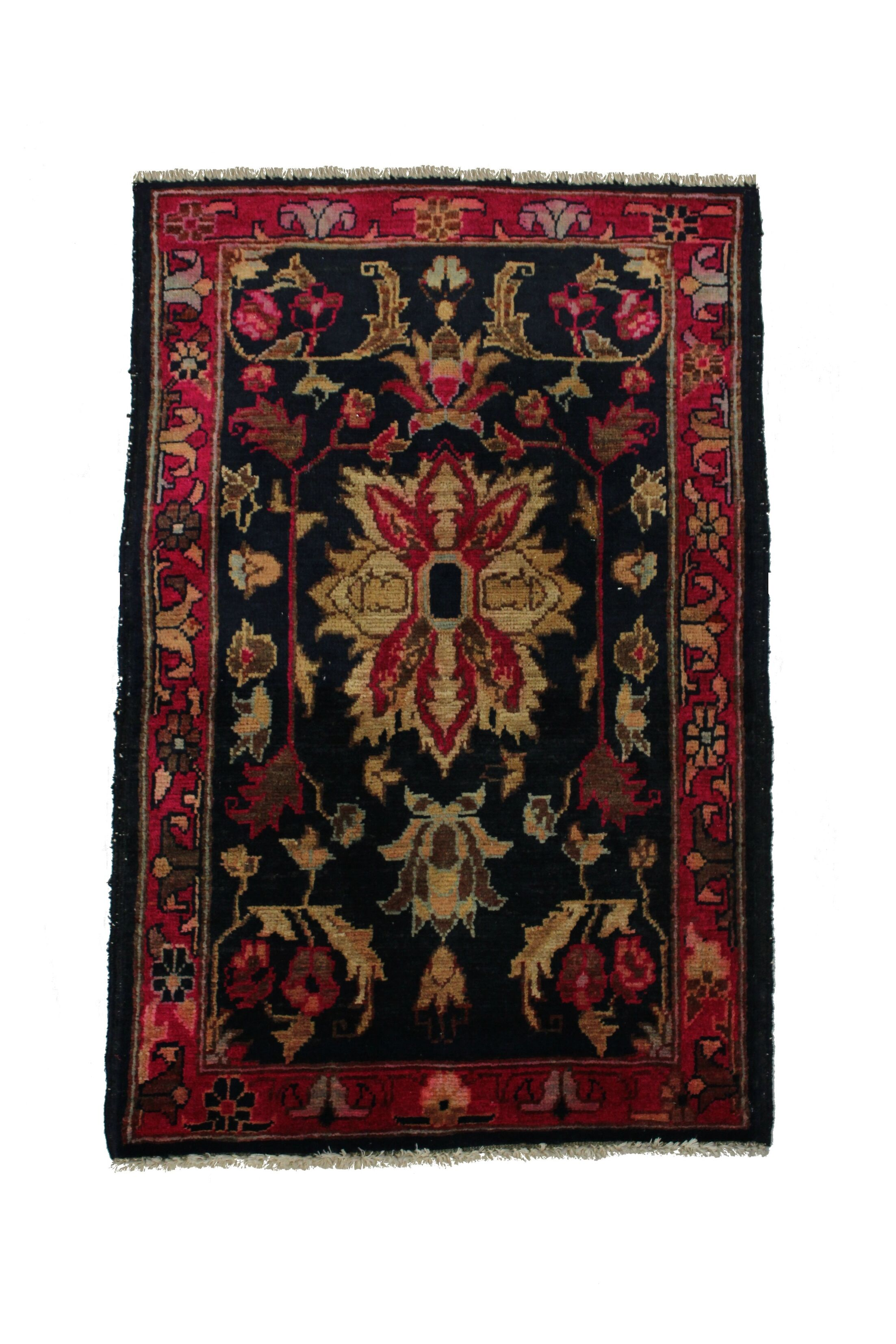 Rolland Handmade Black/Red Area Rug