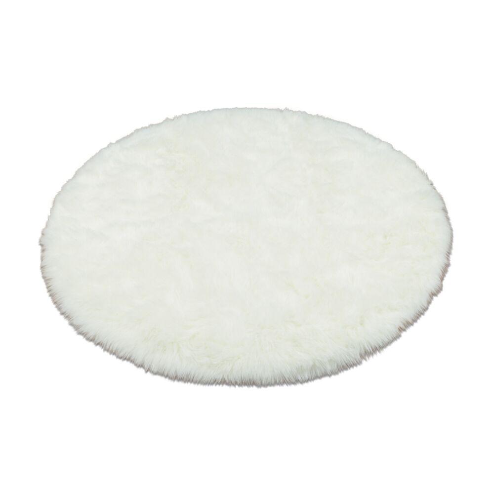Animal Round White Area Rug