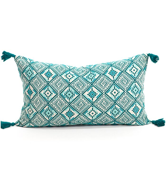Nahuala Cotton Lumbar Pillow Color: Emerald