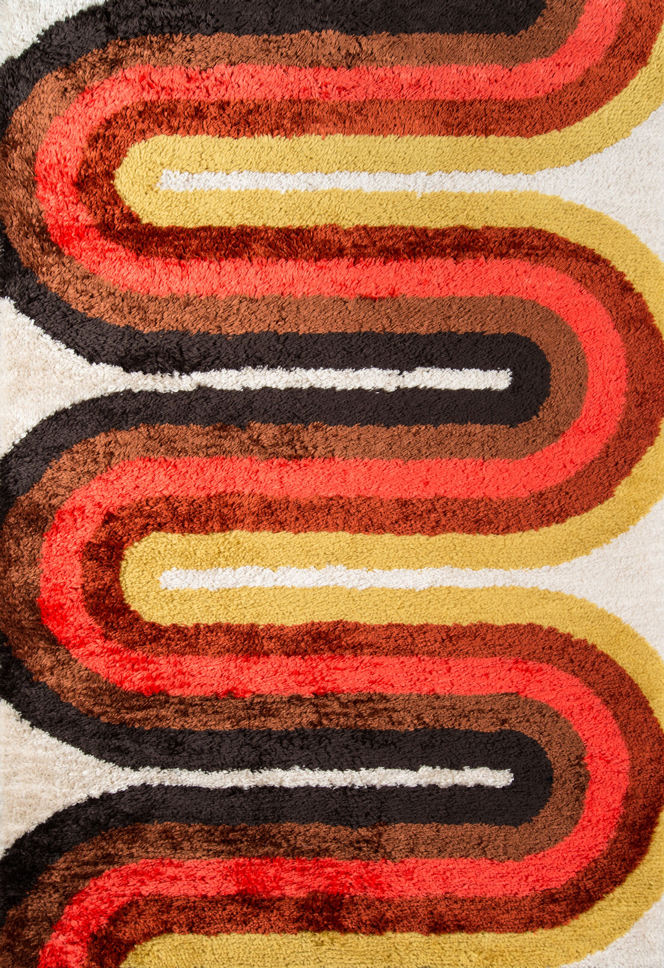 Retro Wave Hand-Tufted Red Area Rug Rug Size: Rectangle 3'6