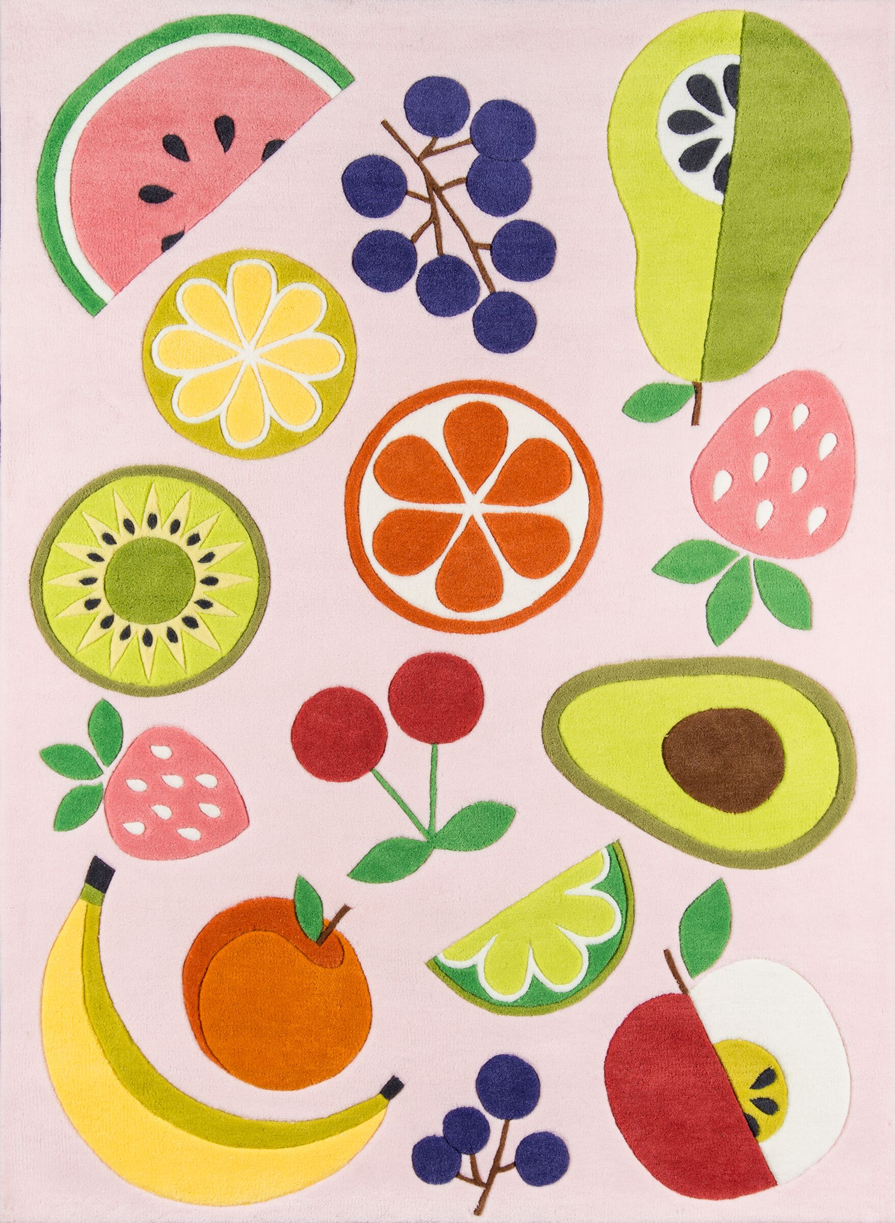 Vintage Fruit Hand-Tufted Pink Area Rug Rug Size: Rectangle 7'6