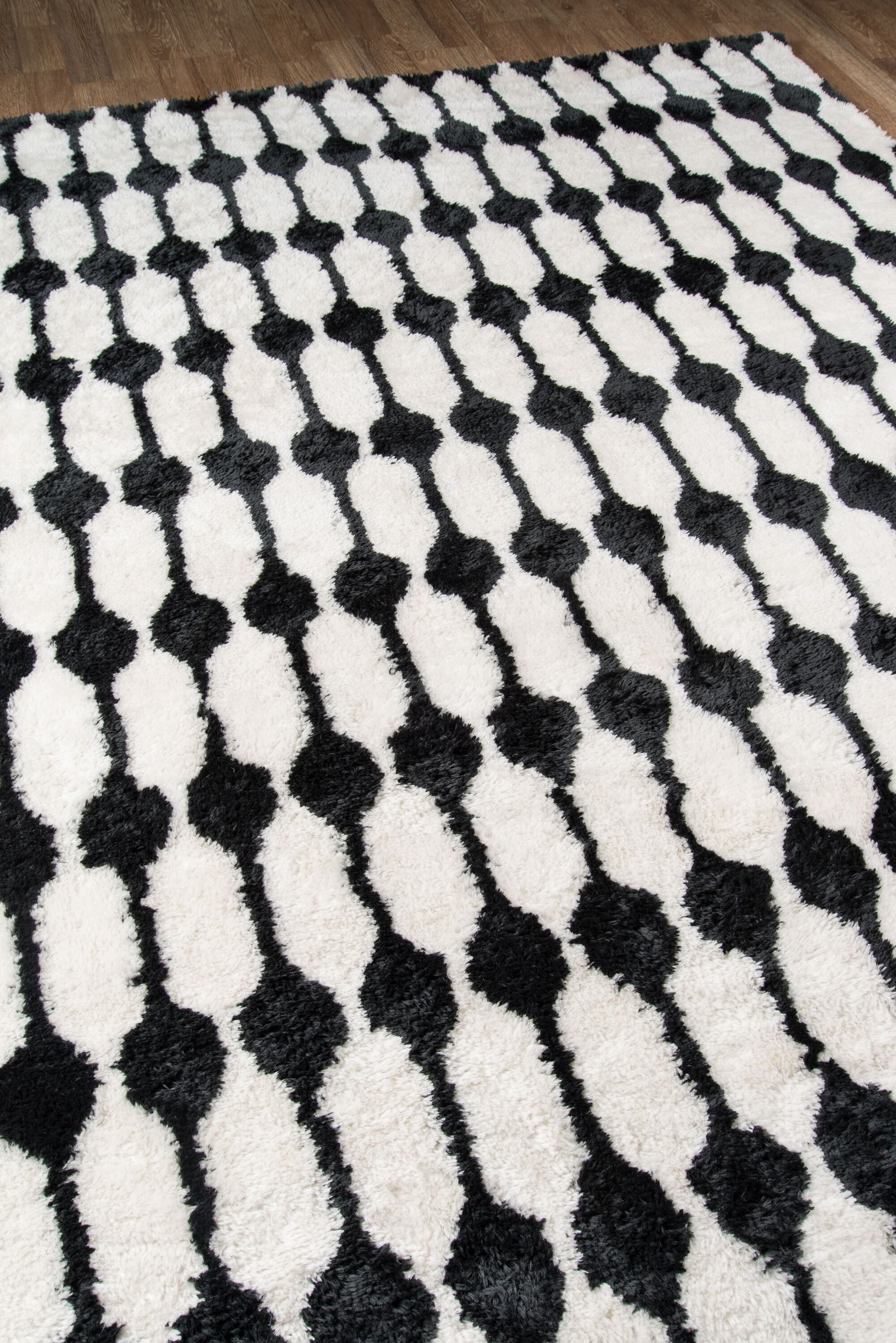 Hand-Tufted Black/White Area Rug Rug Size: Rectangle 5' x 7'6