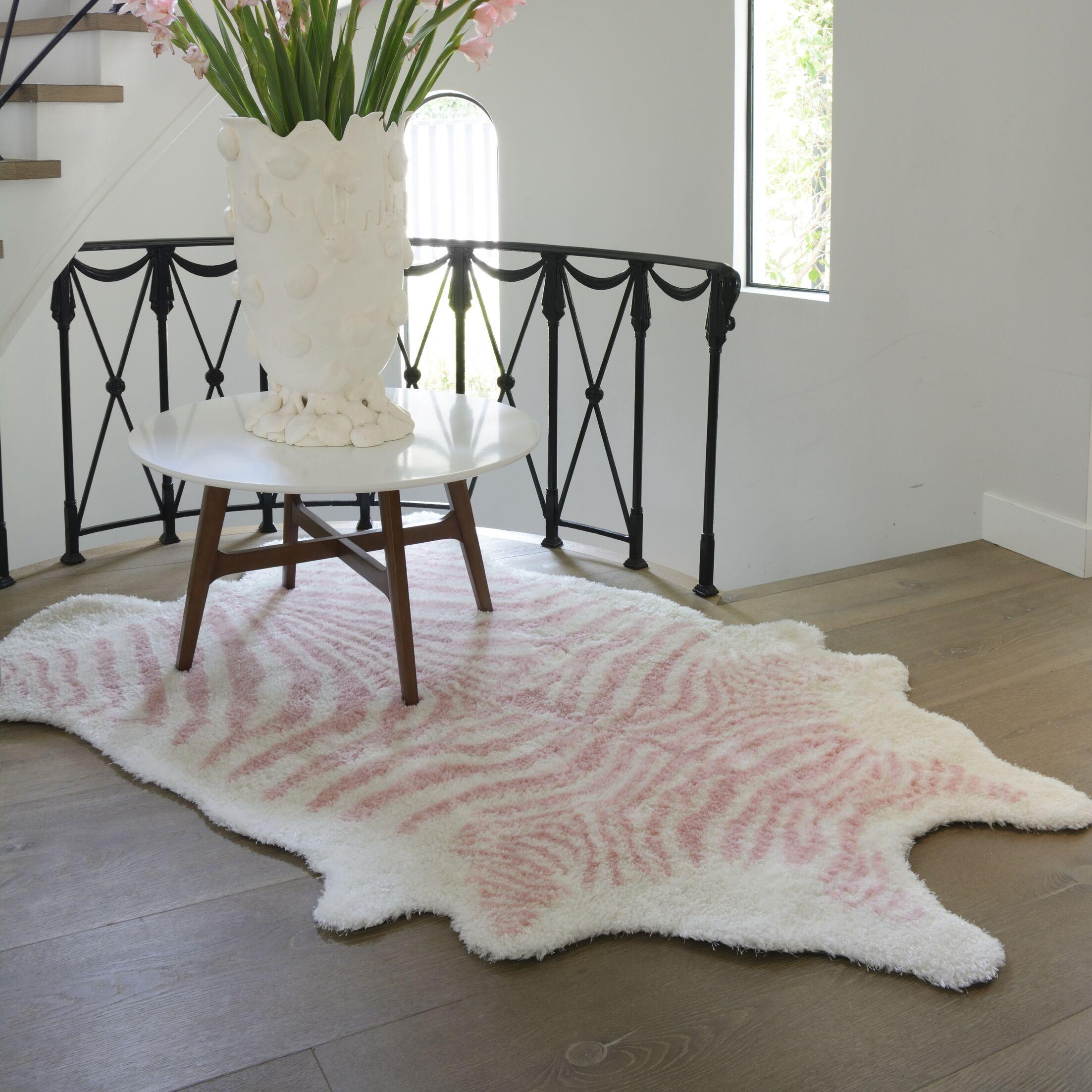 Khalhari Hand-Tufted Faux Fur Pink Area Rug Rug Size: Rectangle 7'6
