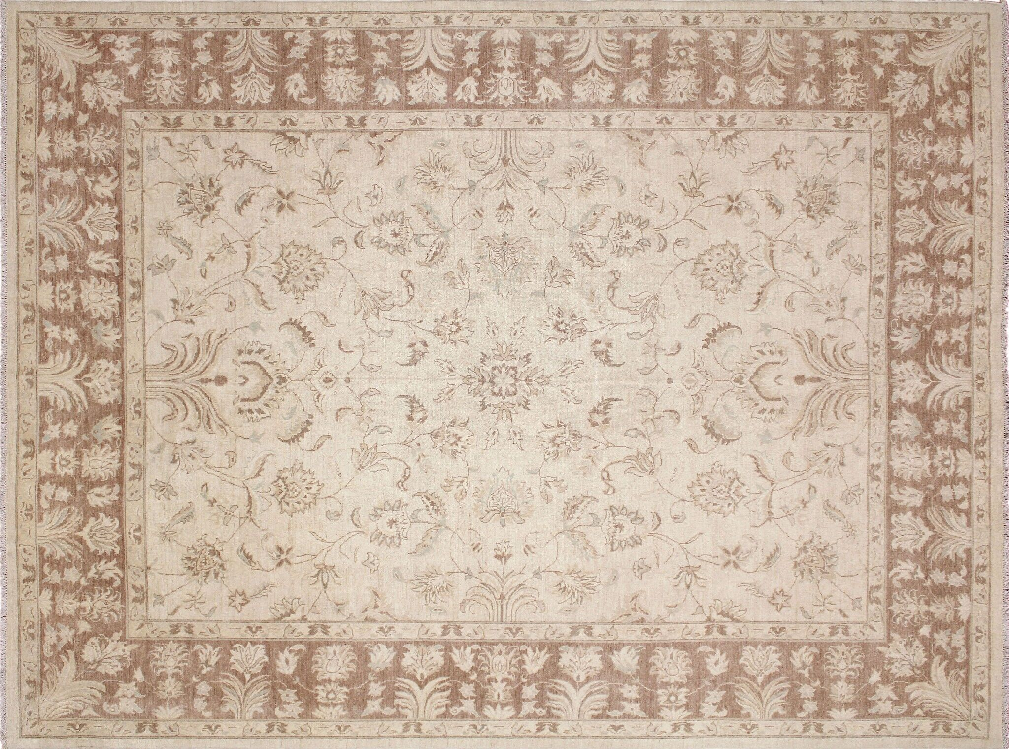 One-of-a-Kind Romona Hand-Knotted Beige Wool Indoor Area Rug
