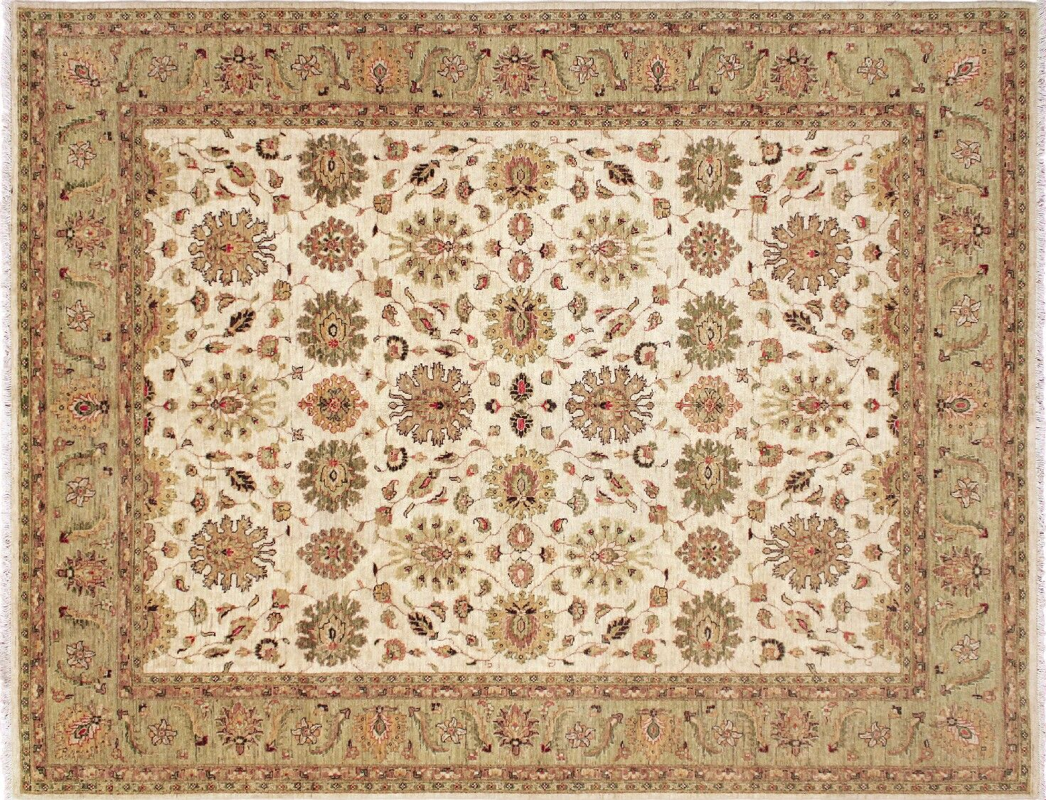 One-of-a-Kind Romona Hand-Knotted Ivory/Light Green Area Rug